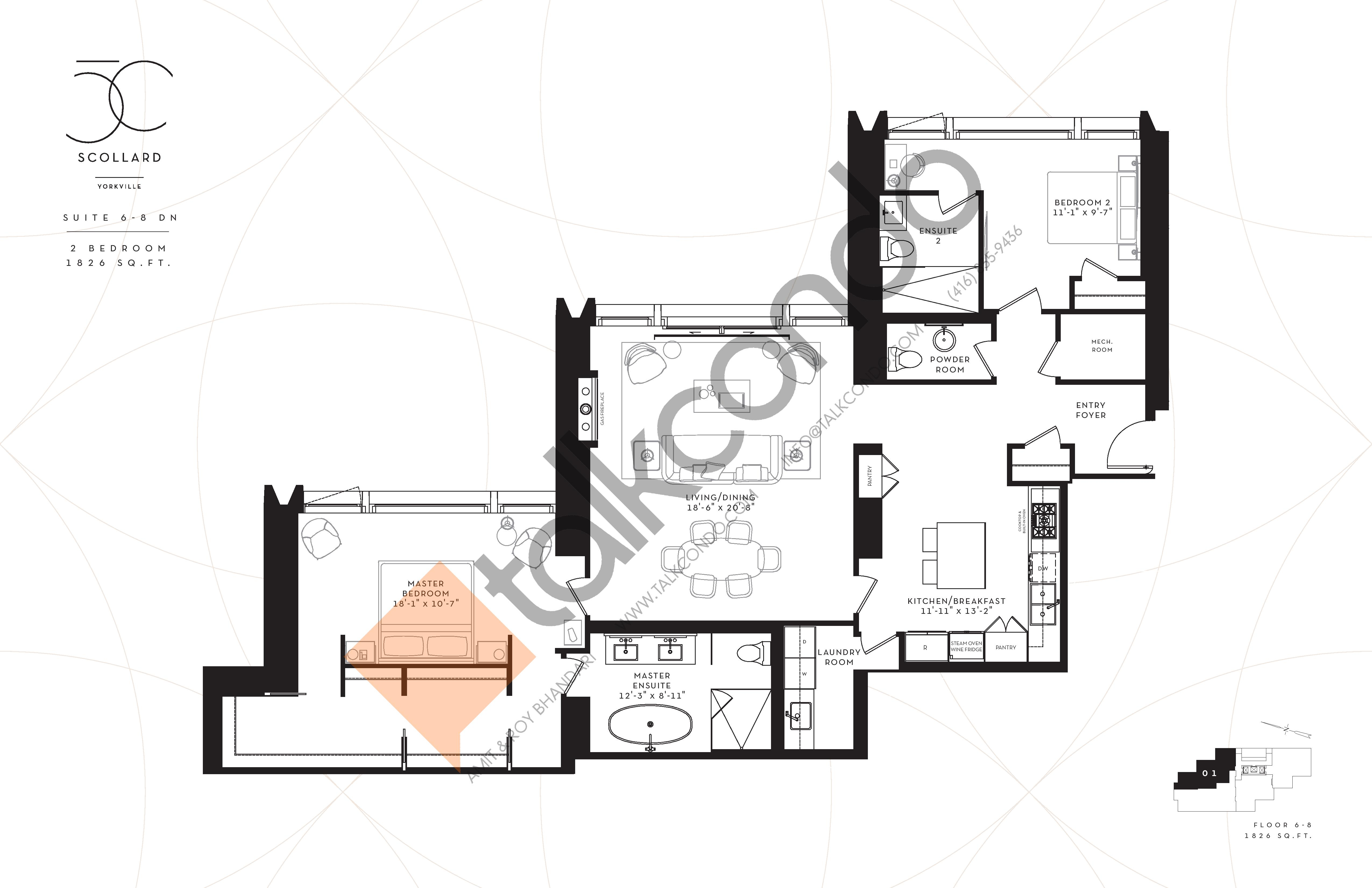 Suite 6-8DN Floor Plan at Fifty Scollard Condos - 1826 sq.ft