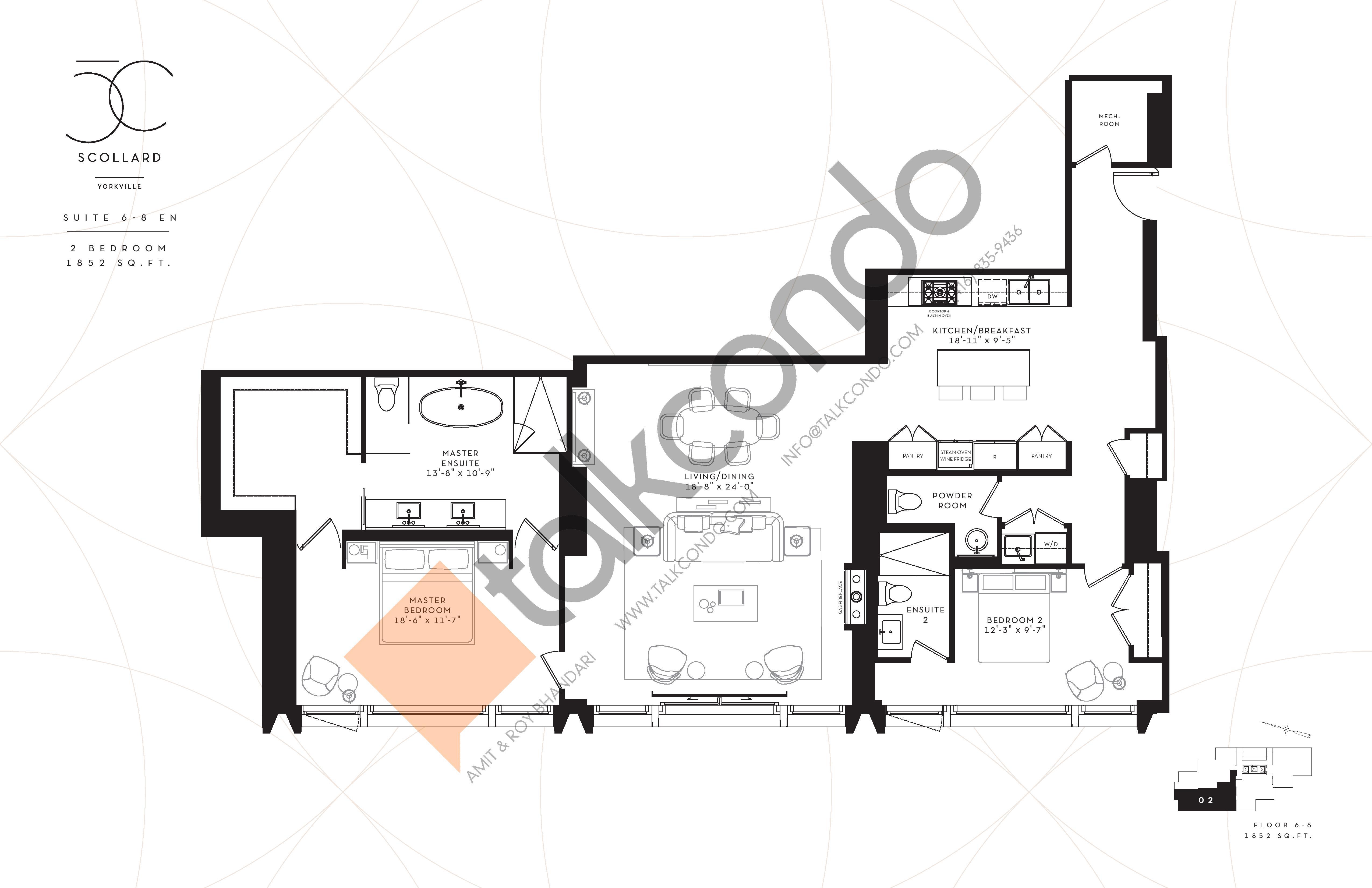 Suite 6-8EN Floor Plan at Fifty Scollard Condos - 1852 sq.ft