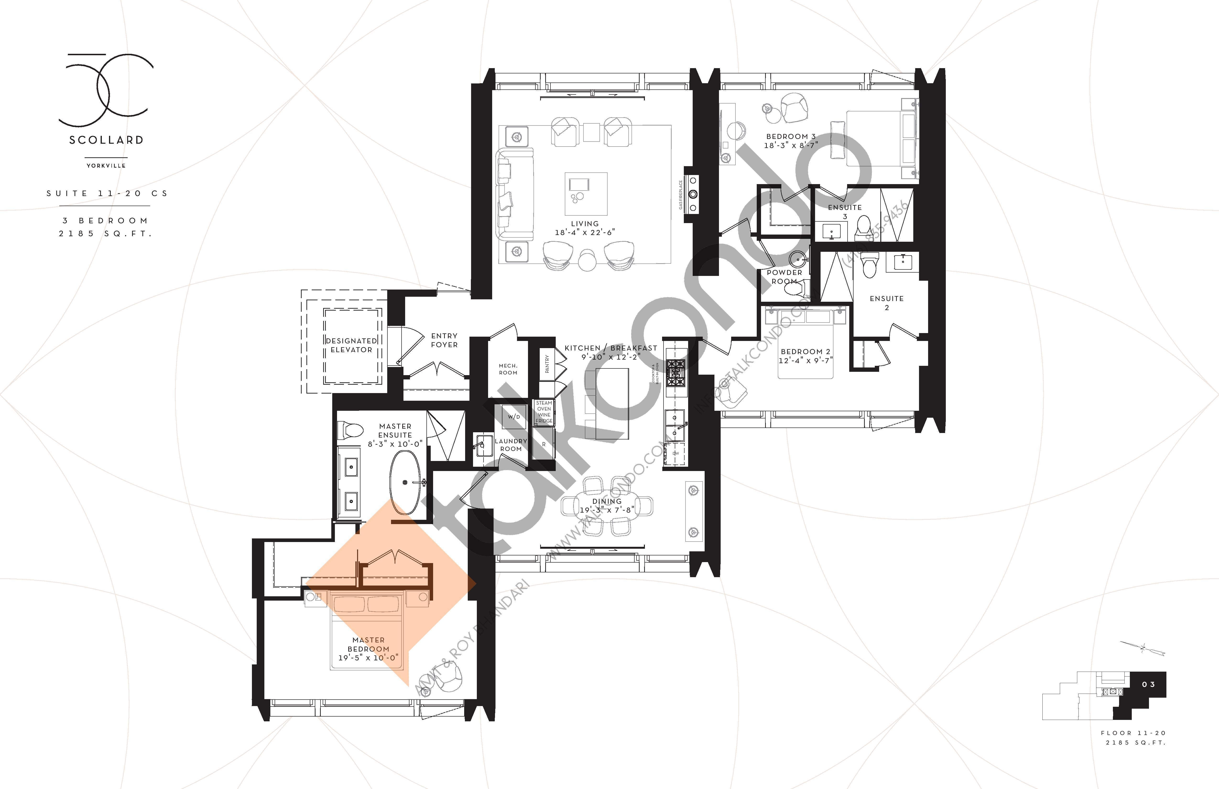Suite 11-20CS Floor Plan at Fifty Scollard Condos - 2185 sq.ft