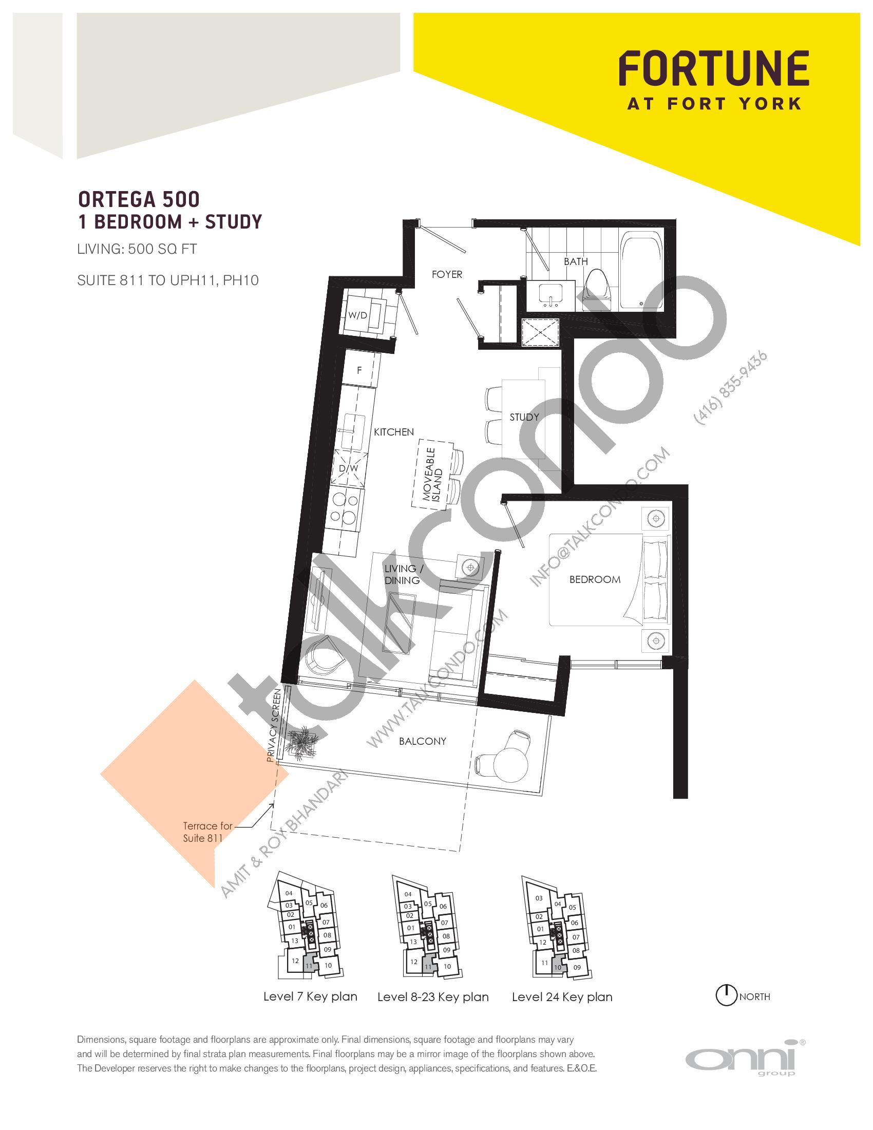 Ortega 500 Floor Plan at Fortune at Fort York - 500 sq.ft