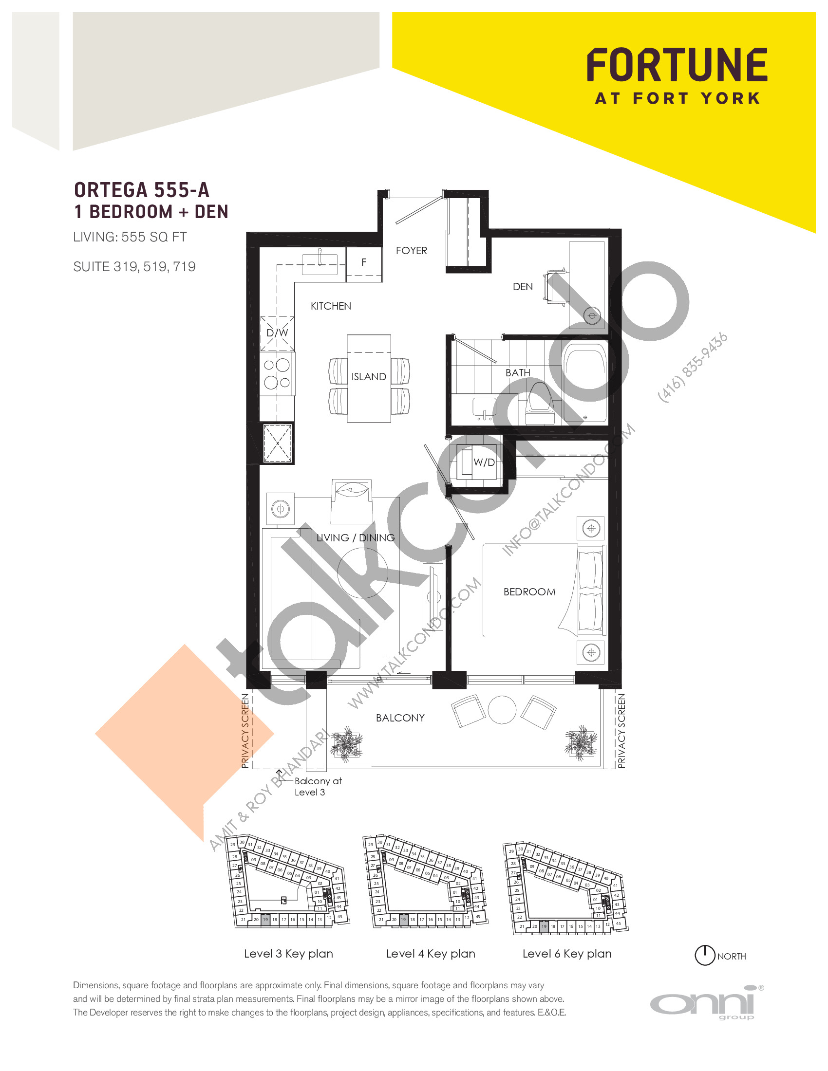 Ortega 555-A Floor Plan at Fortune at Fort York - 555 sq.ft