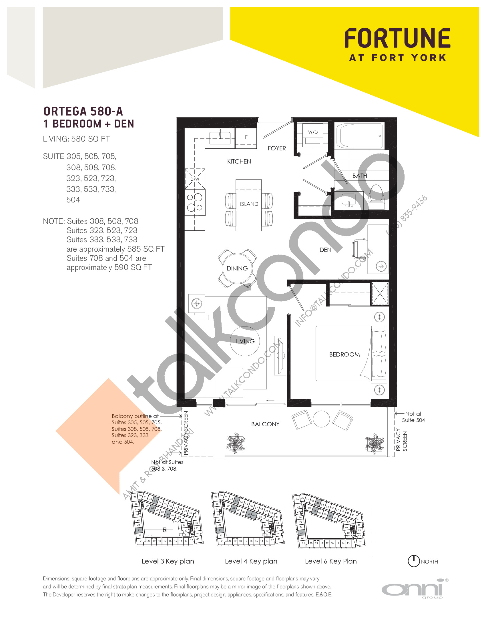 Ortega 580-A Floor Plan at Fortune at Fort York - 580 sq.ft