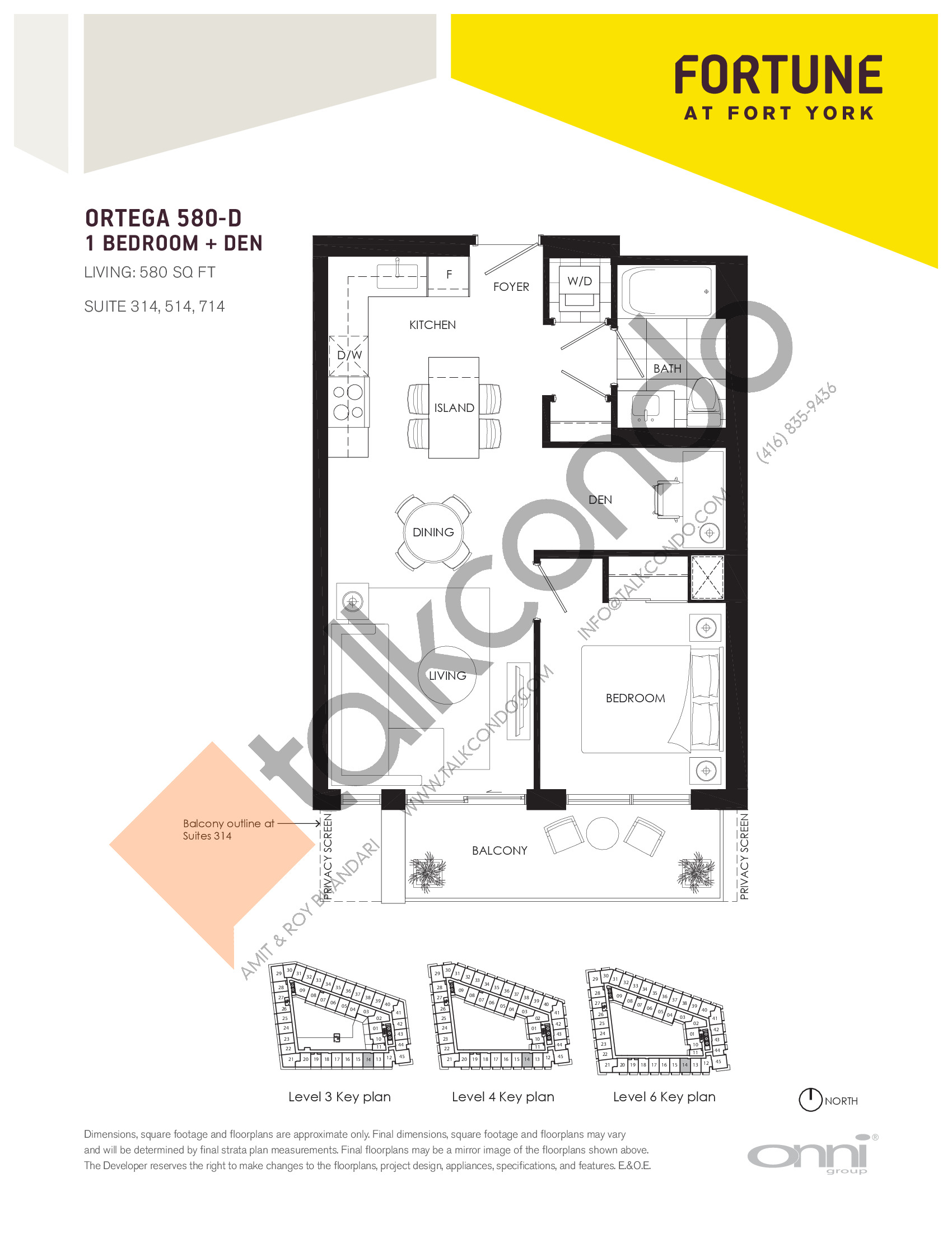 Ortega 580-D Floor Plan at Fortune at Fort York - 580 sq.ft