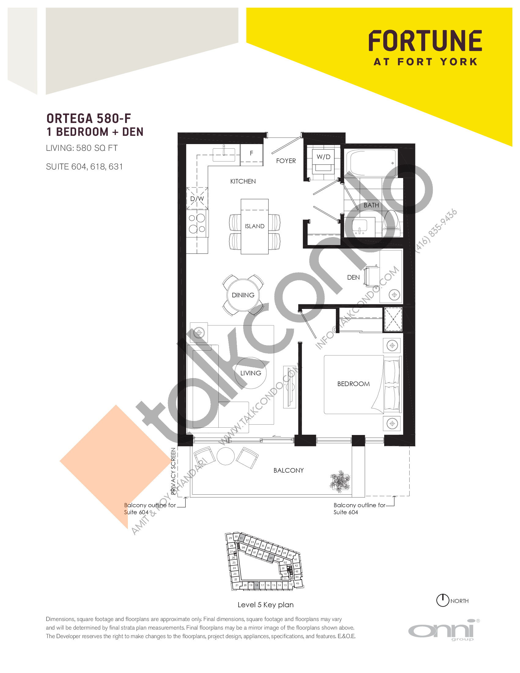 Ortega 580-F Floor Plan at Fortune at Fort York - 580 sq.ft