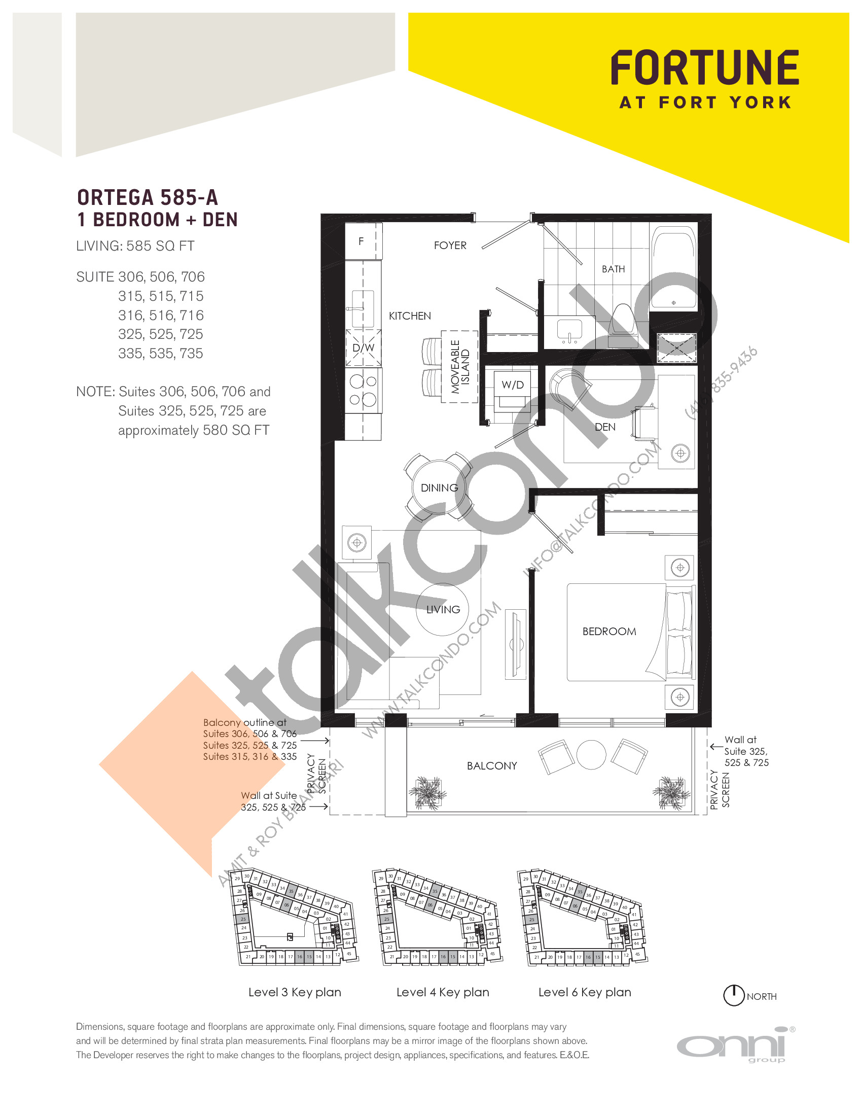 Ortega 585-A Floor Plan at Fortune at Fort York - 585 sq.ft