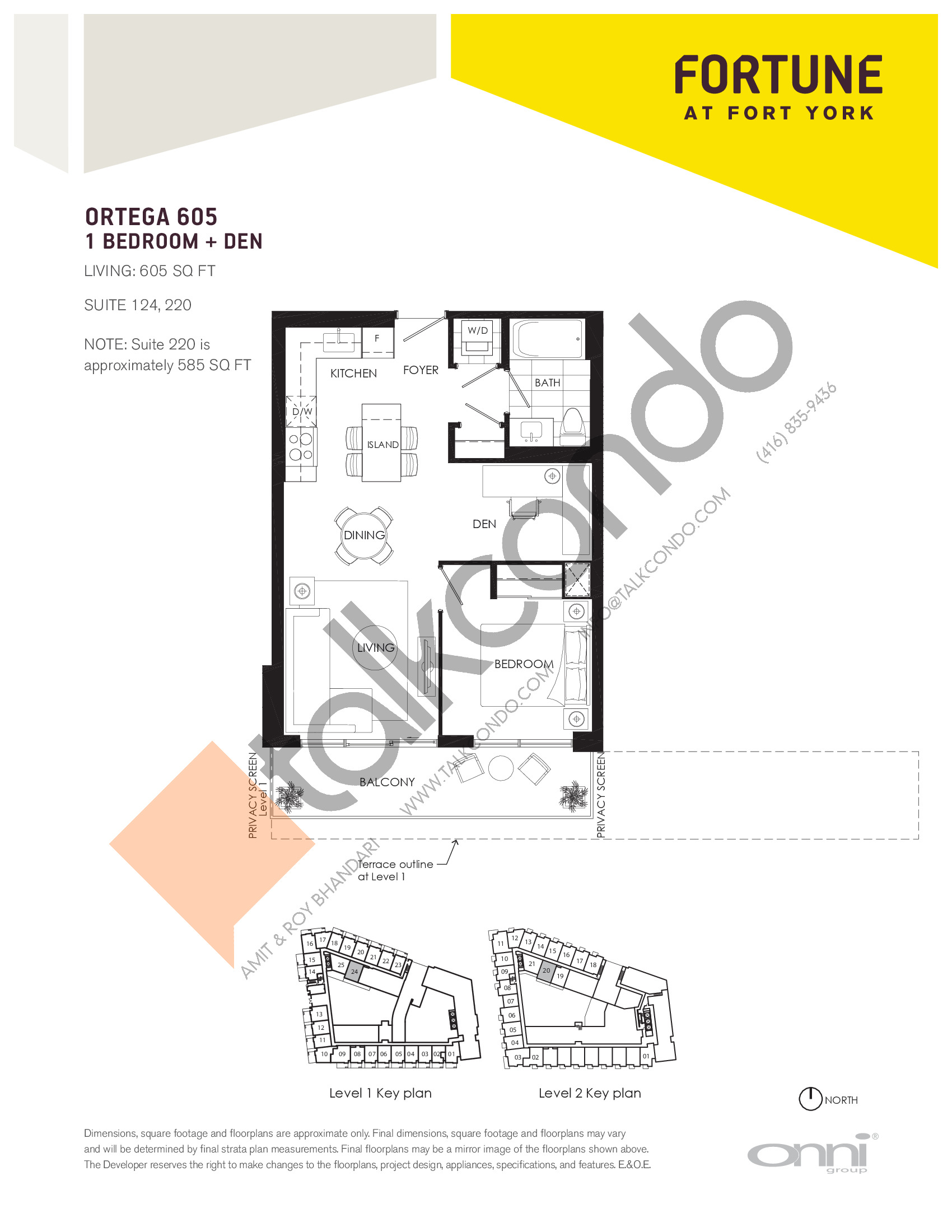 Ortega 605 Floor Plan at Fortune at Fort York - 605 sq.ft
