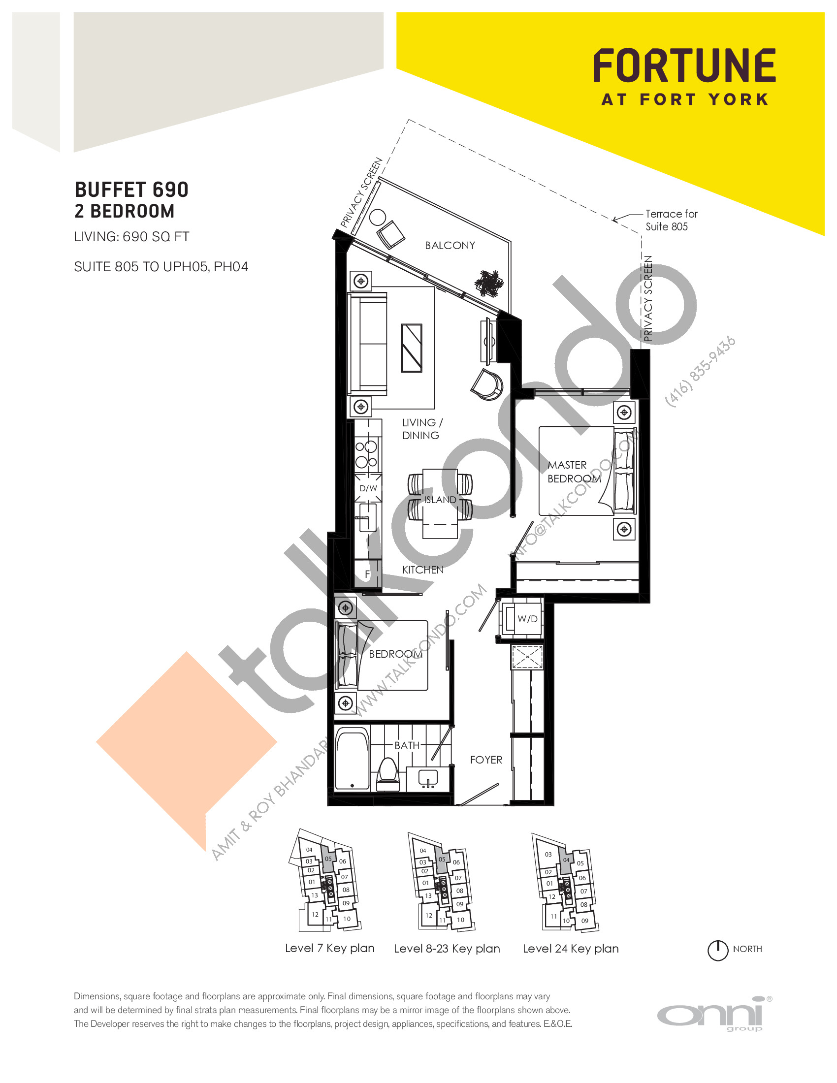 Buffet 690 Floor Plan at Fortune at Fort York - 690 sq.ft