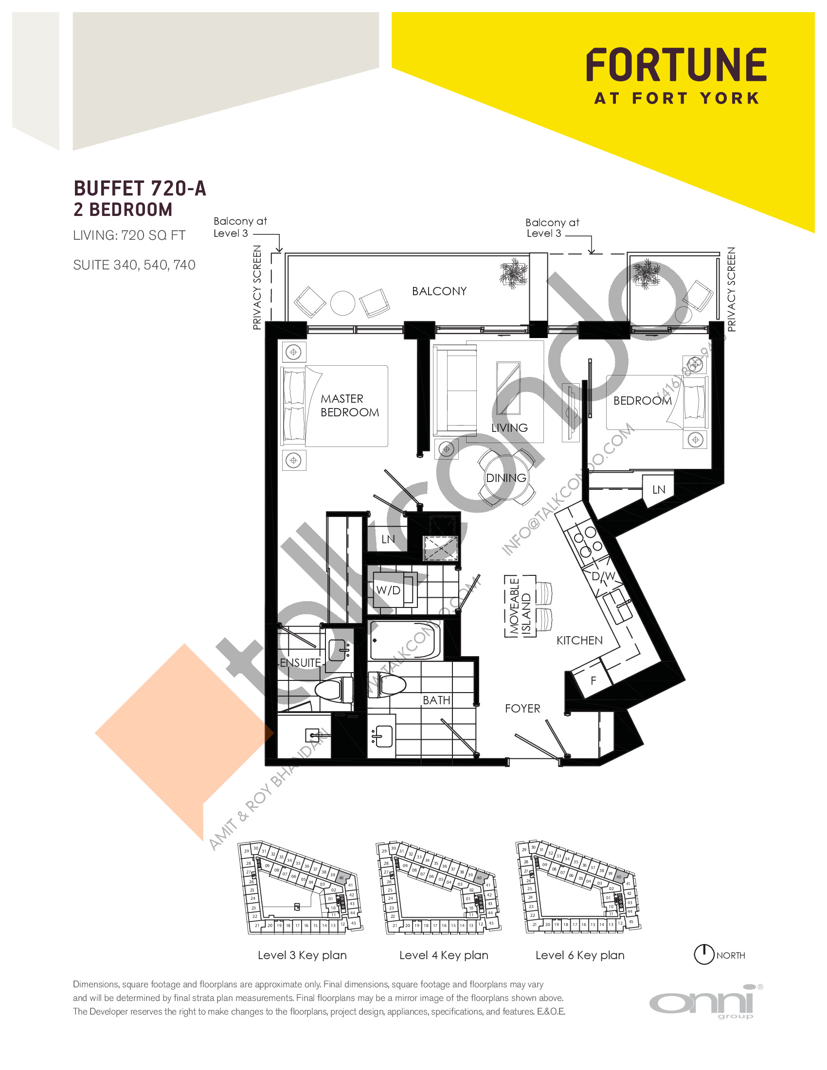 Buffet 720-A Floor Plan at Fortune at Fort York - 720 sq.ft