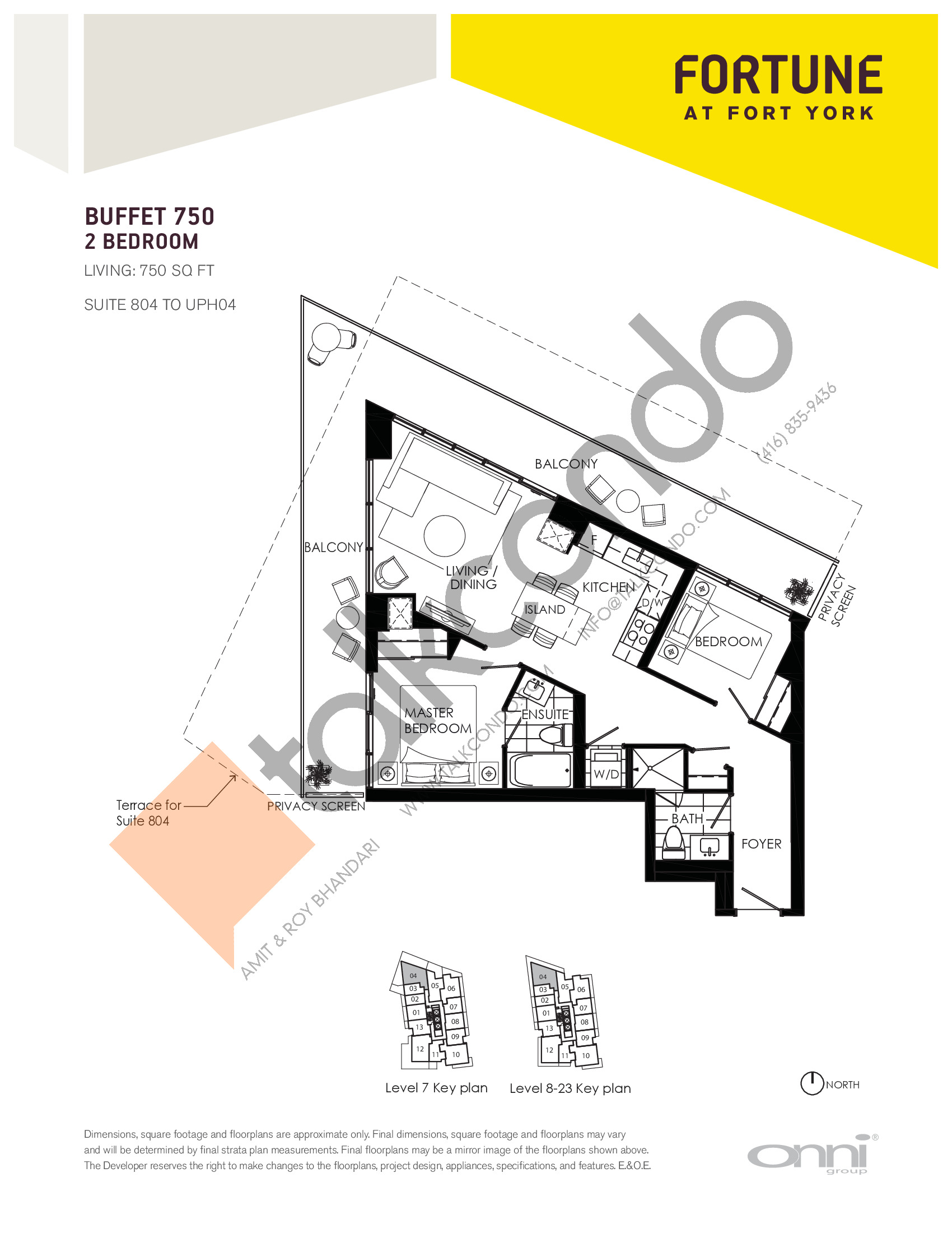Buffet 750 Floor Plan at Fortune at Fort York - 750 sq.ft