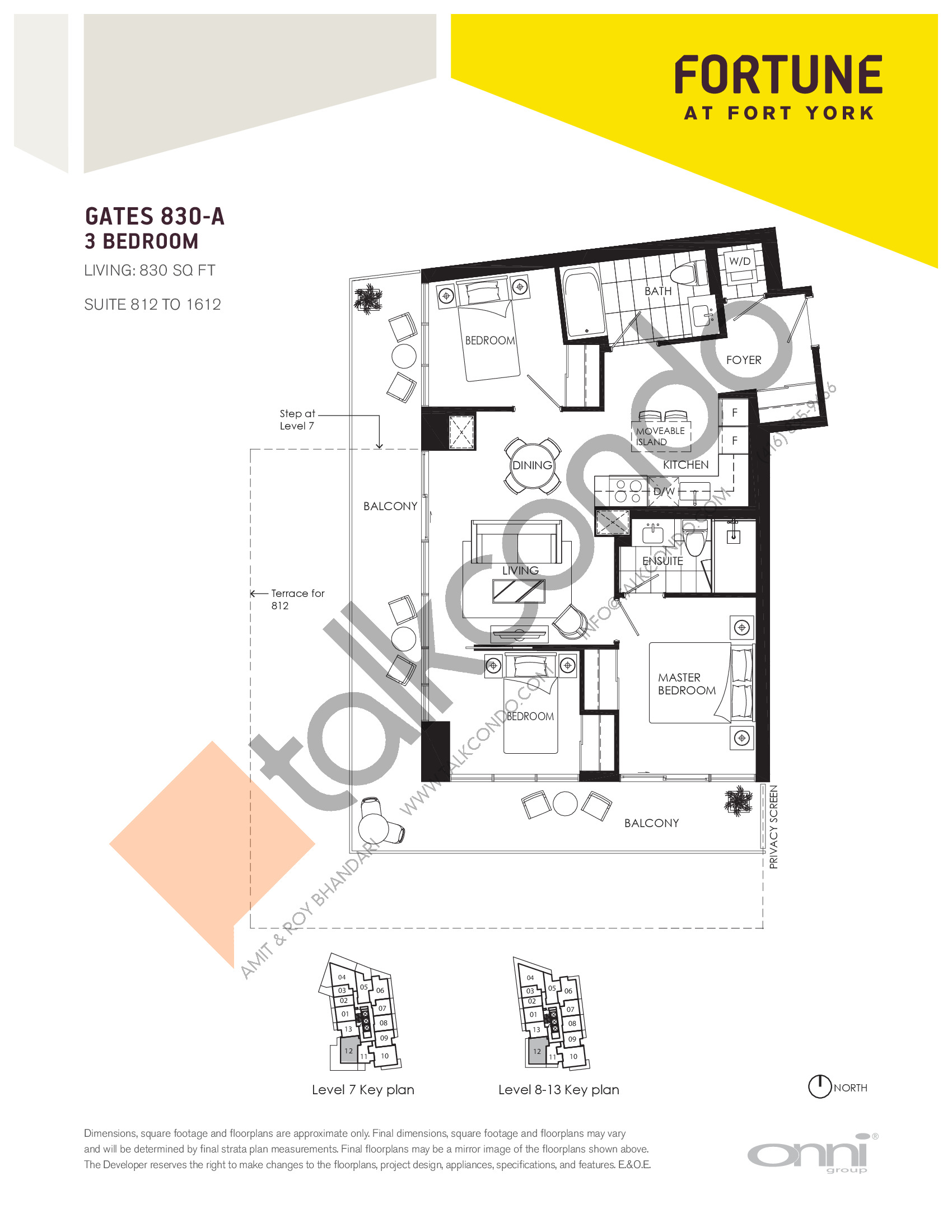 Gates 830-A Floor Plan at Fortune at Fort York - 830 sq.ft