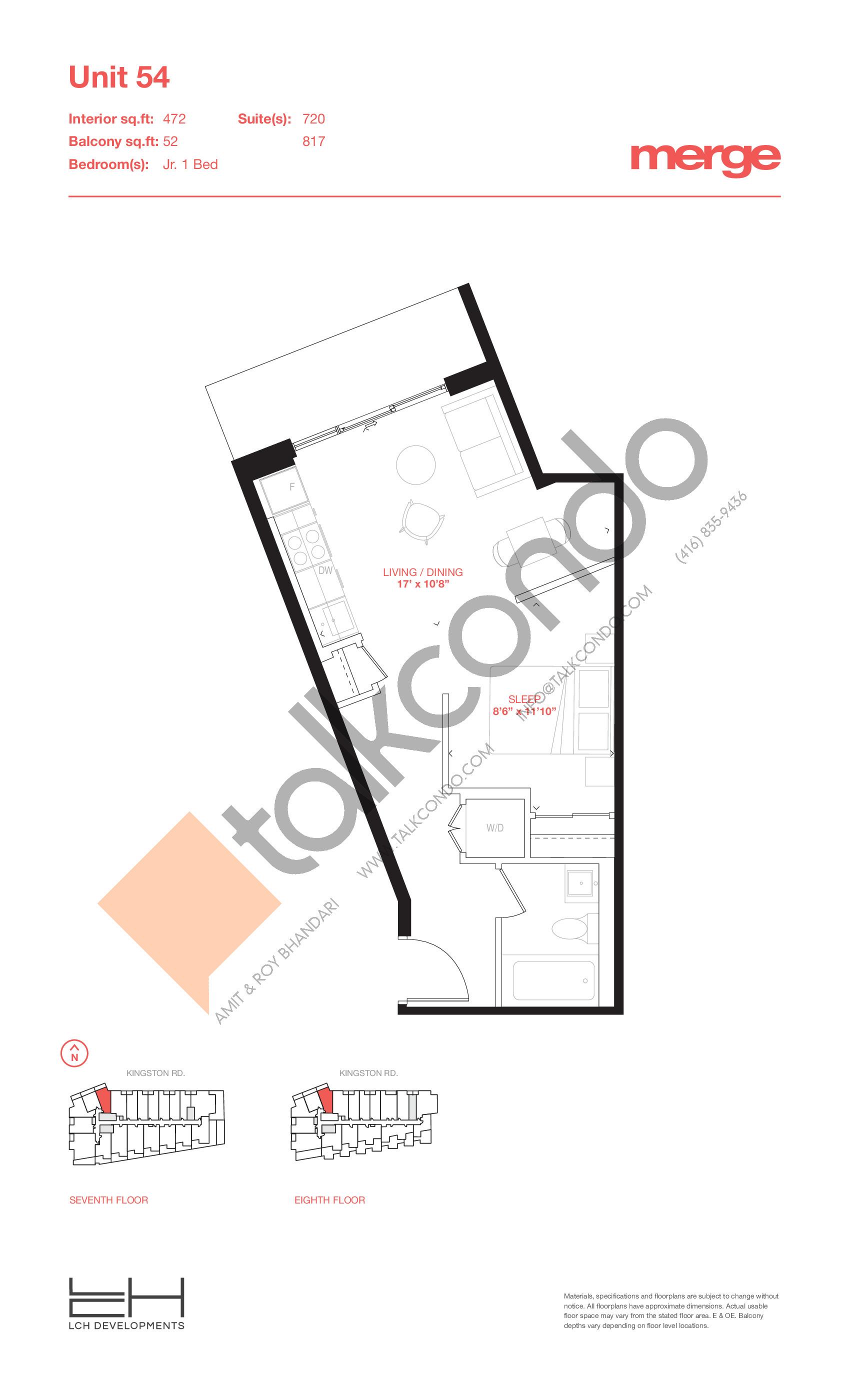 Unit 54 - Tower Floor Plan at Merge Condos - 472 sq.ft