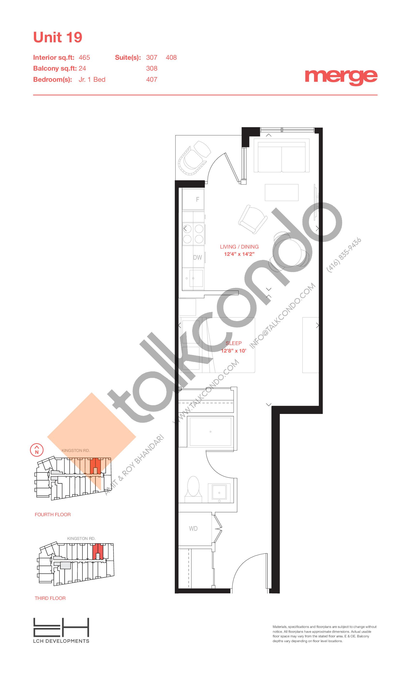 Unit 19 - Tower Floor Plan at Merge Condos - 465 sq.ft