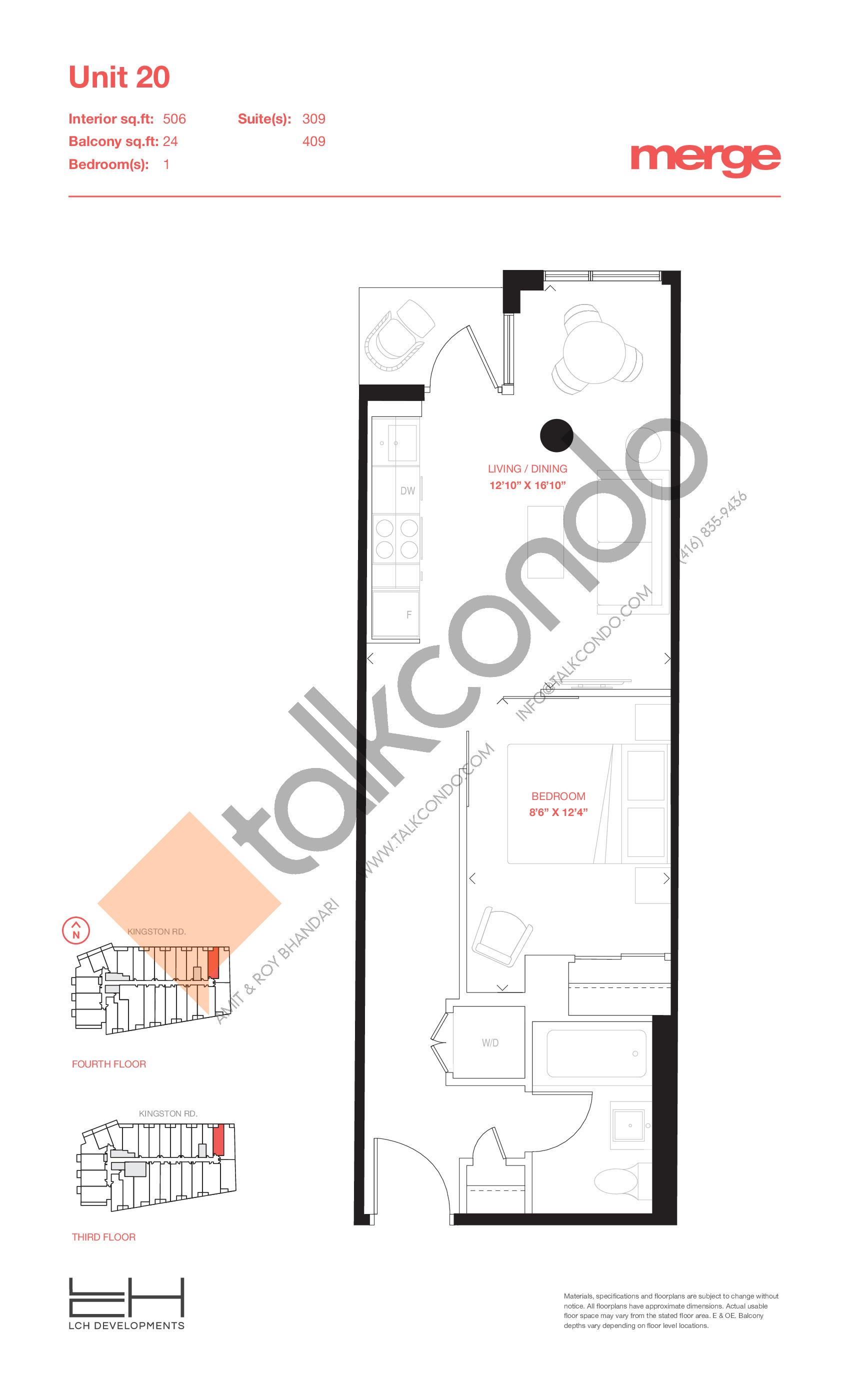 Unit 20 - Tower Floor Plan at Merge Condos - 506 sq.ft