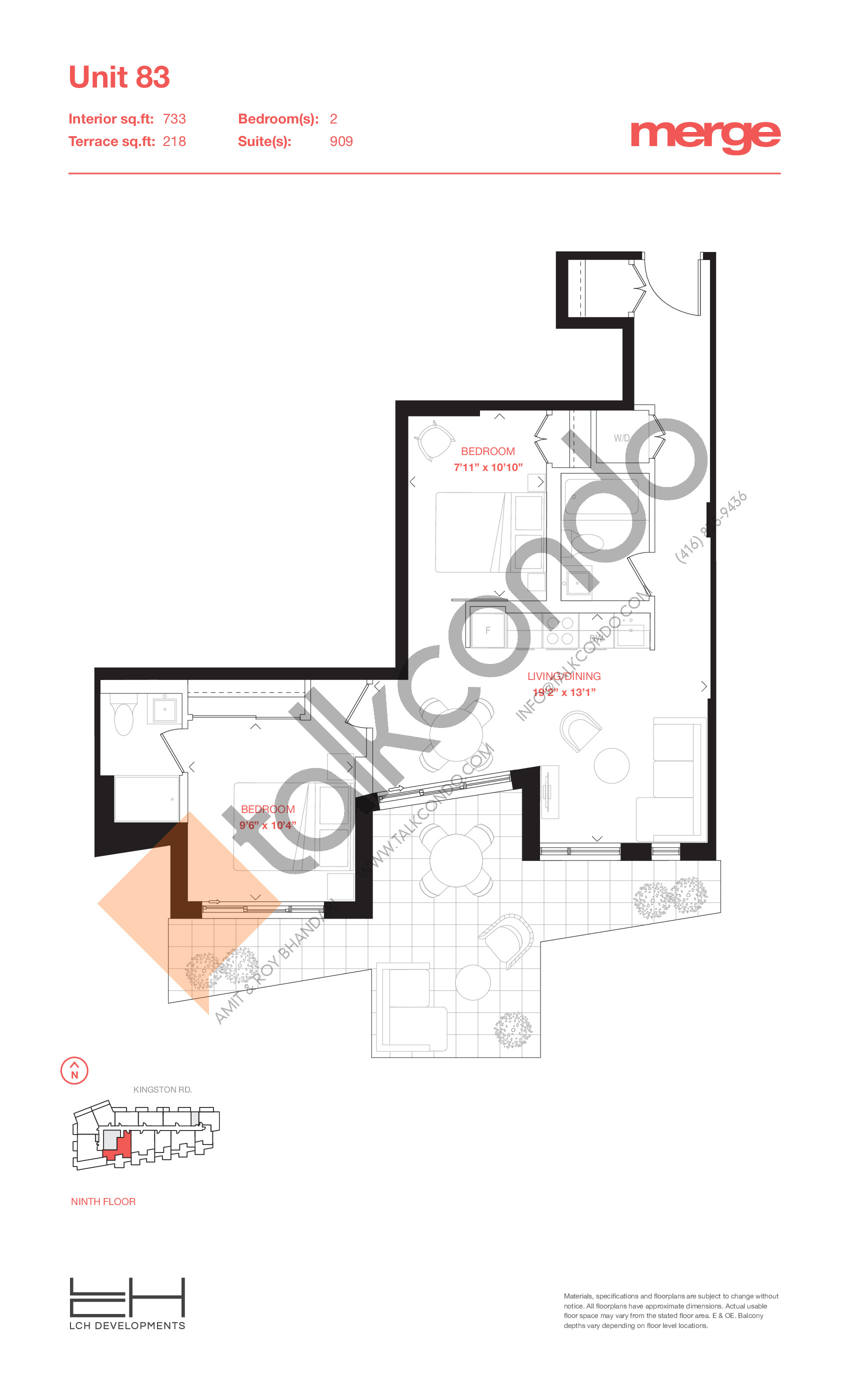Unit 83 - Terraces Floor Plan at Merge Condos - 733 sq.ft