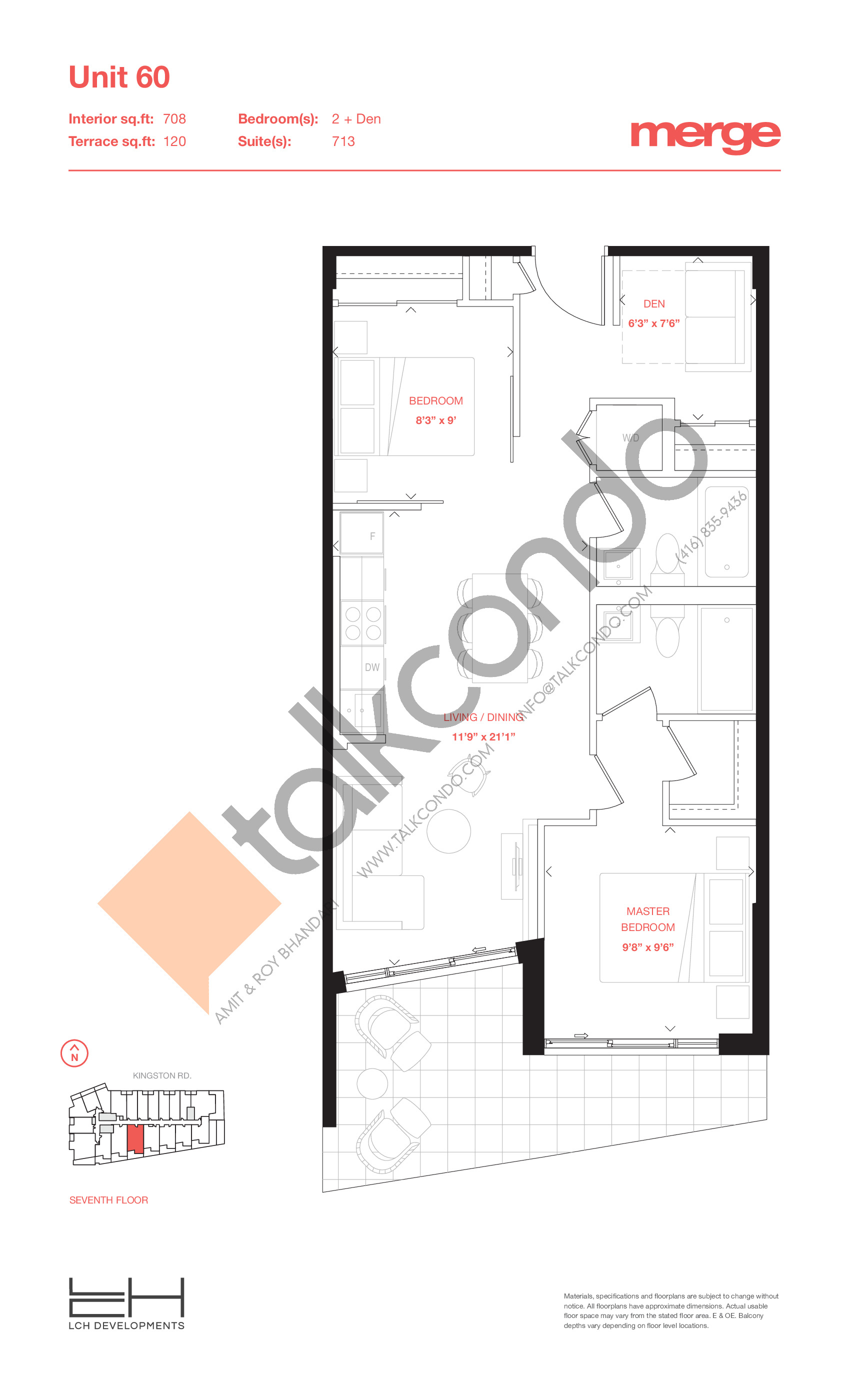 Unit 60 - Terraces Floor Plan at Merge Condos - 708 sq.ft