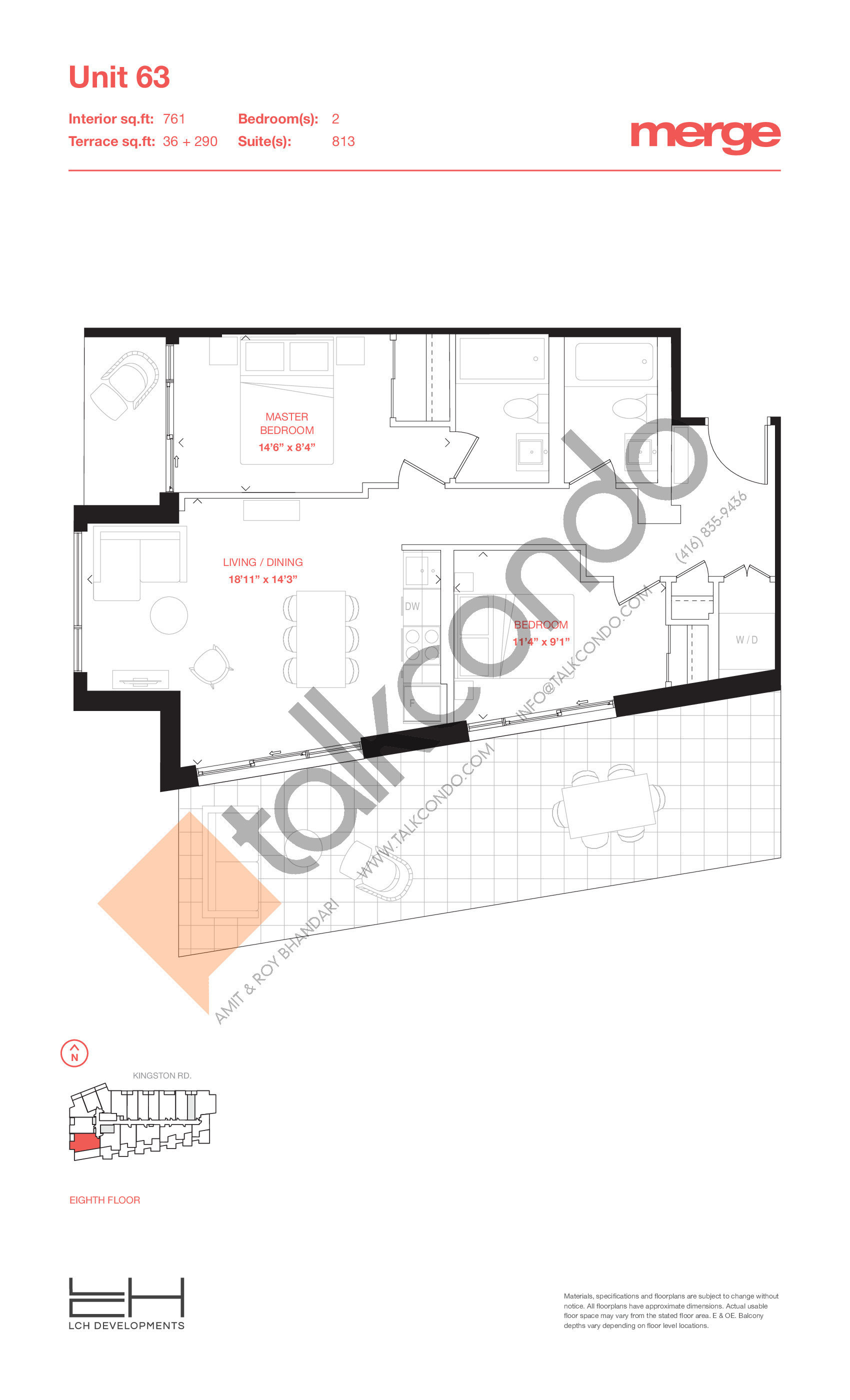 Unit 63 - Terraces Floor Plan at Merge Condos - 761 sq.ft