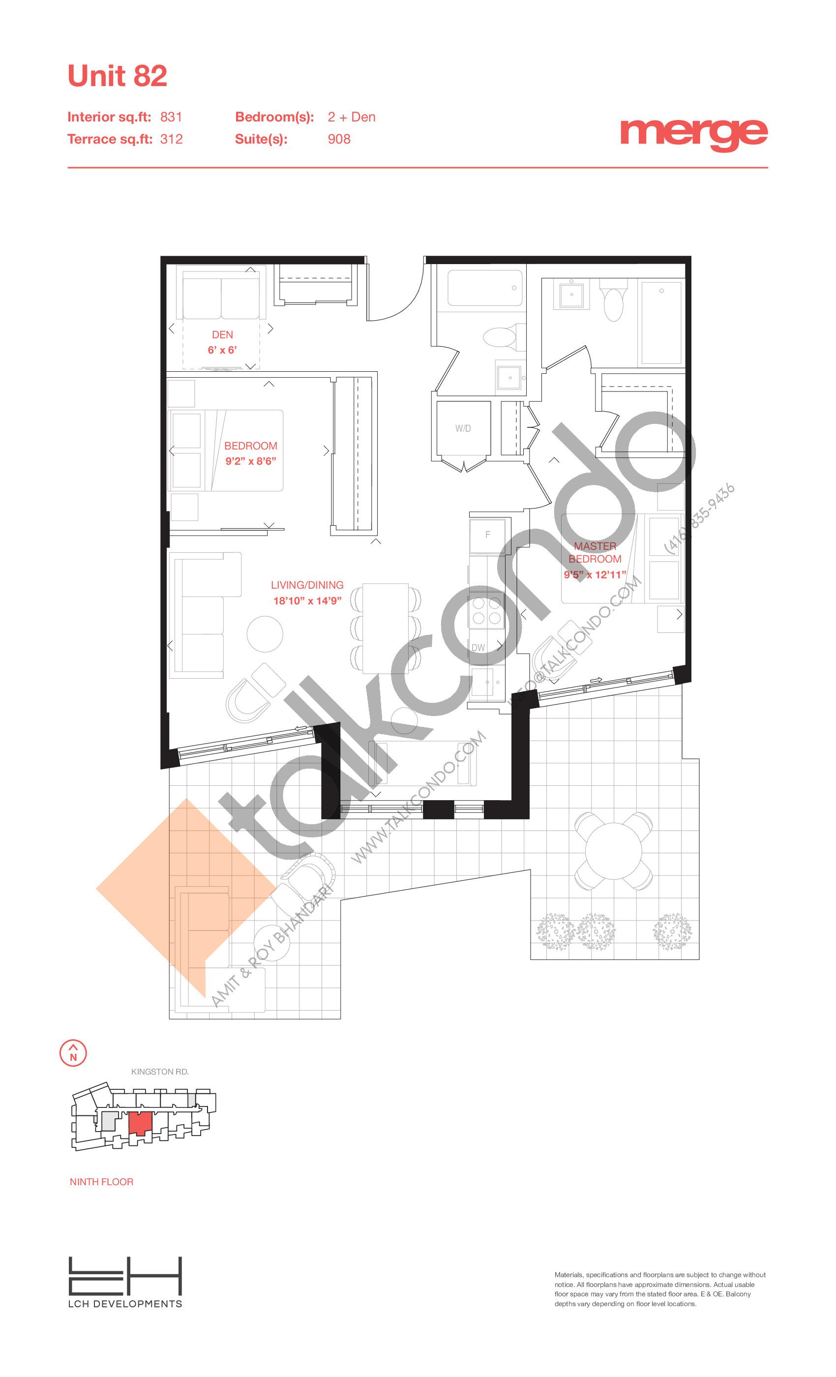Unit 82 - Terraces Floor Plan at Merge Condos - 831 sq.ft