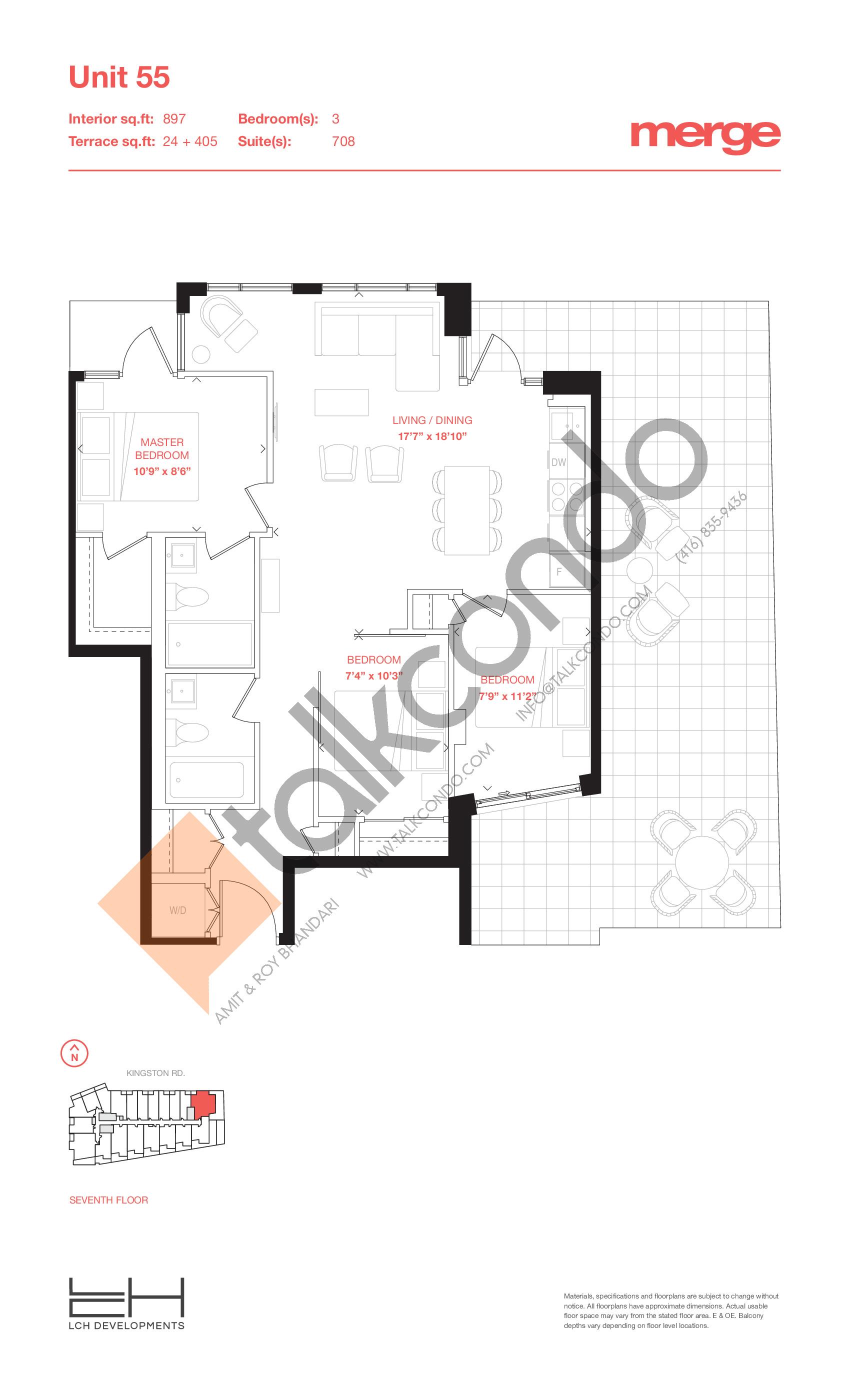 Unit 55 - Terraces Floor Plan at Merge Condos - 897 sq.ft