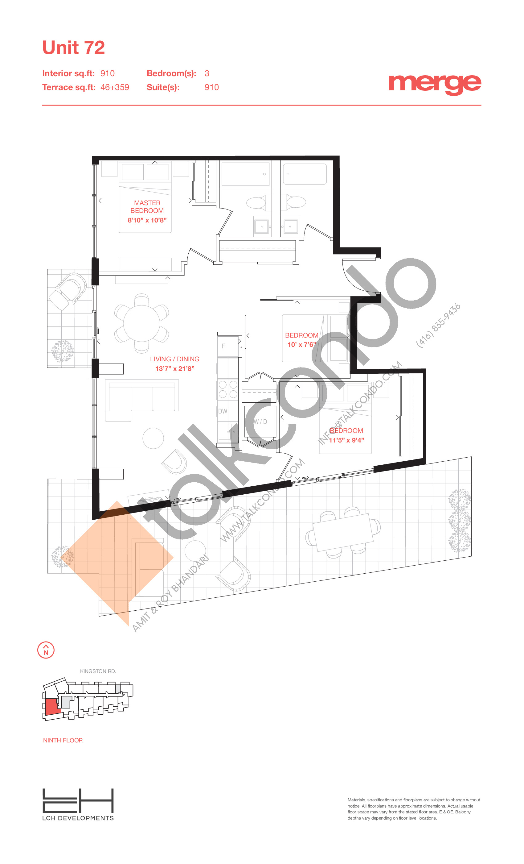 Unit 72 - Tower Floor Plan at Merge Condos - 910 sq.ft