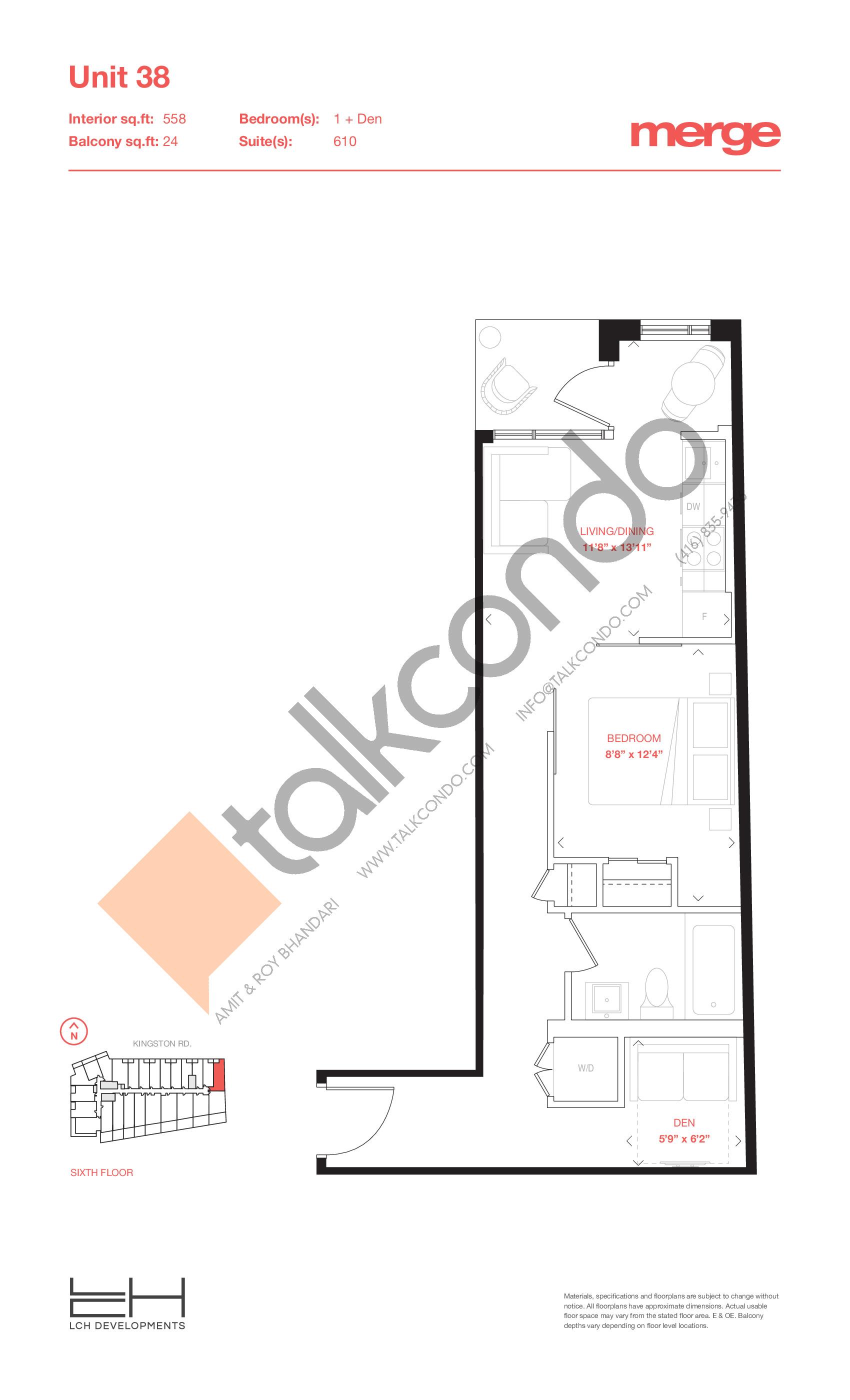 Unit 38 - Tower Floor Plan at Merge Condos - 558 sq.ft