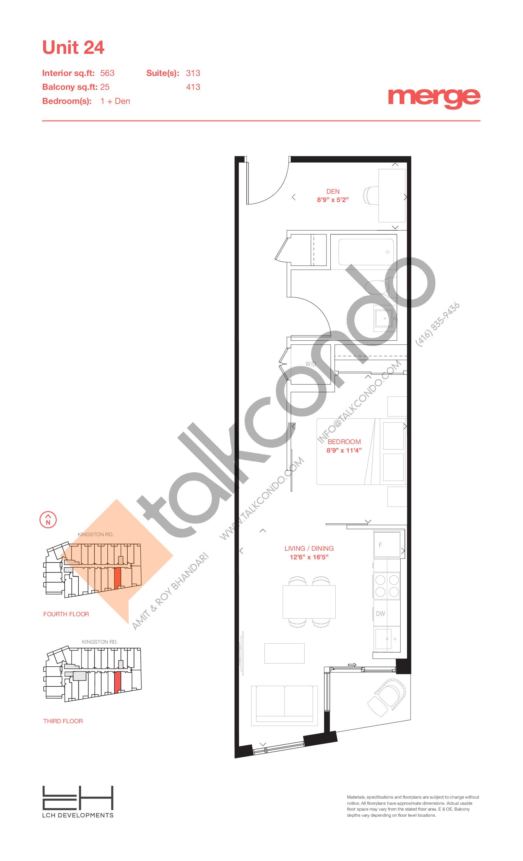Unit 24 - Tower Floor Plan at Merge Condos - 563 sq.ft