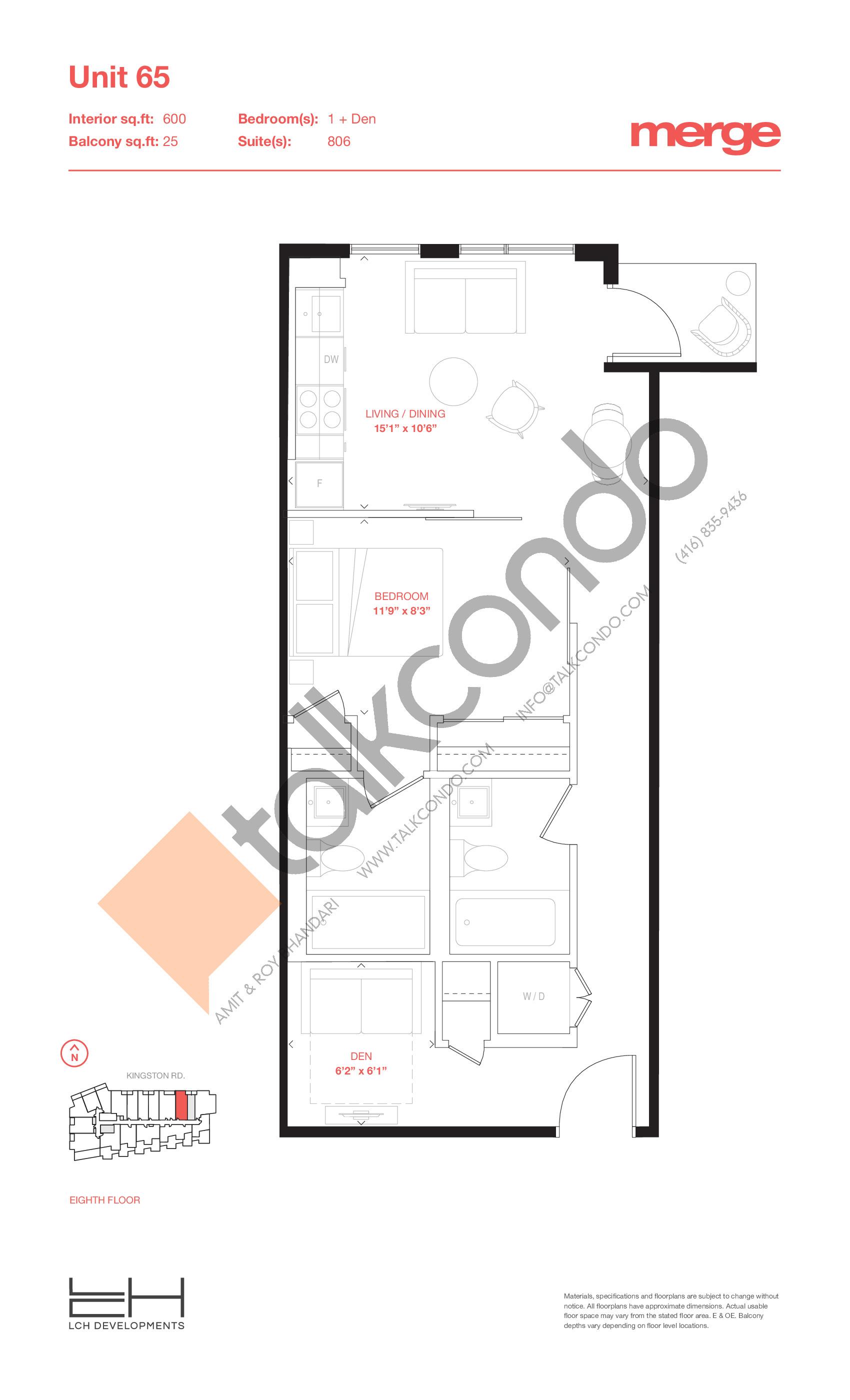 Unit 65 - Tower Floor Plan at Merge Condos - 600 sq.ft