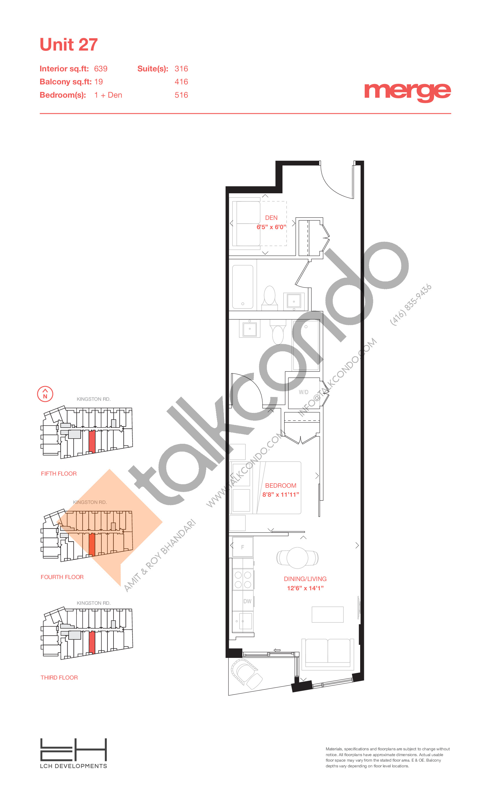 Unit 27 - Tower Floor Plan at Merge Condos - 639 sq.ft