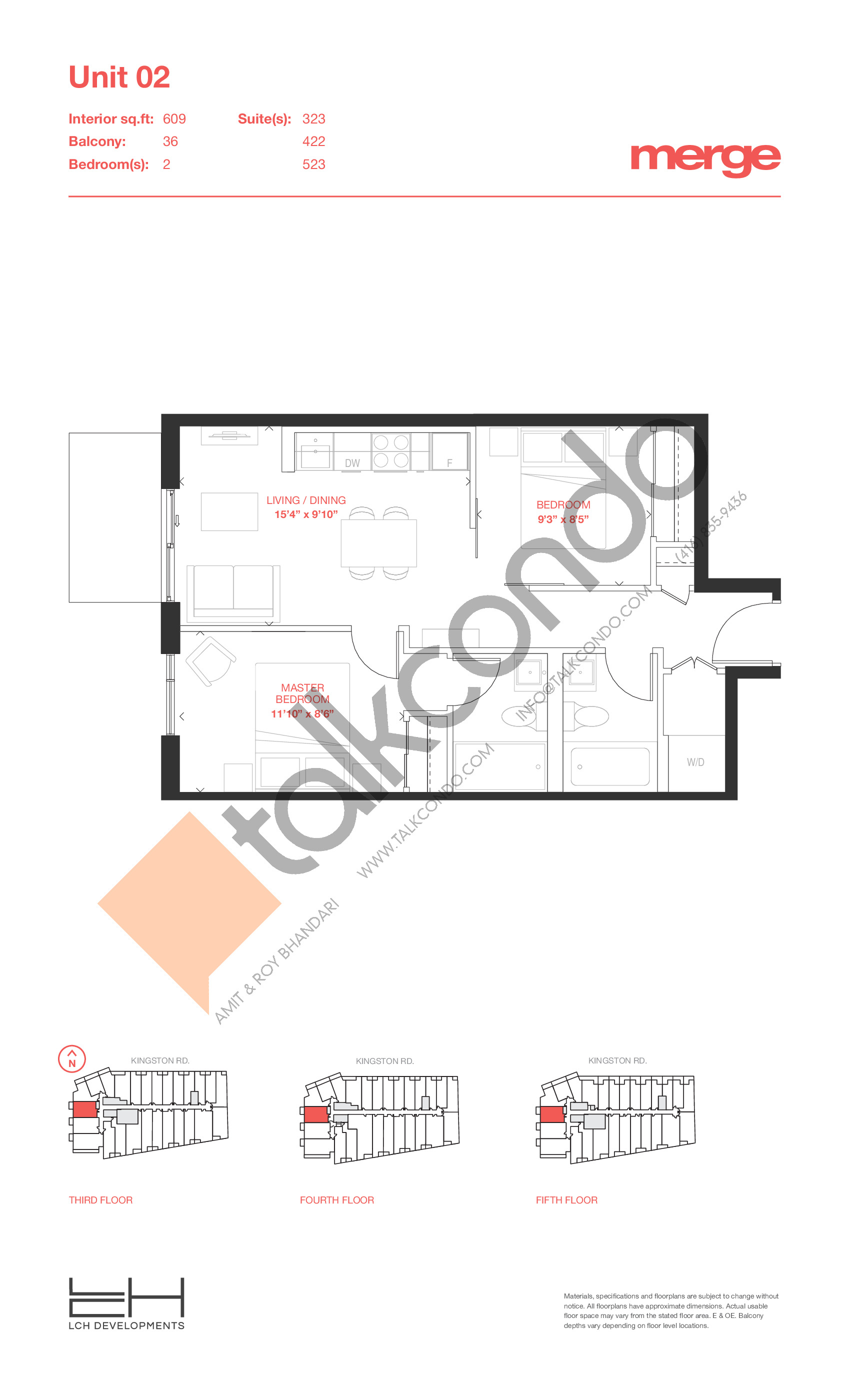 Unit 02 - Tower Floor Plan at Merge Condos - 609 sq.ft
