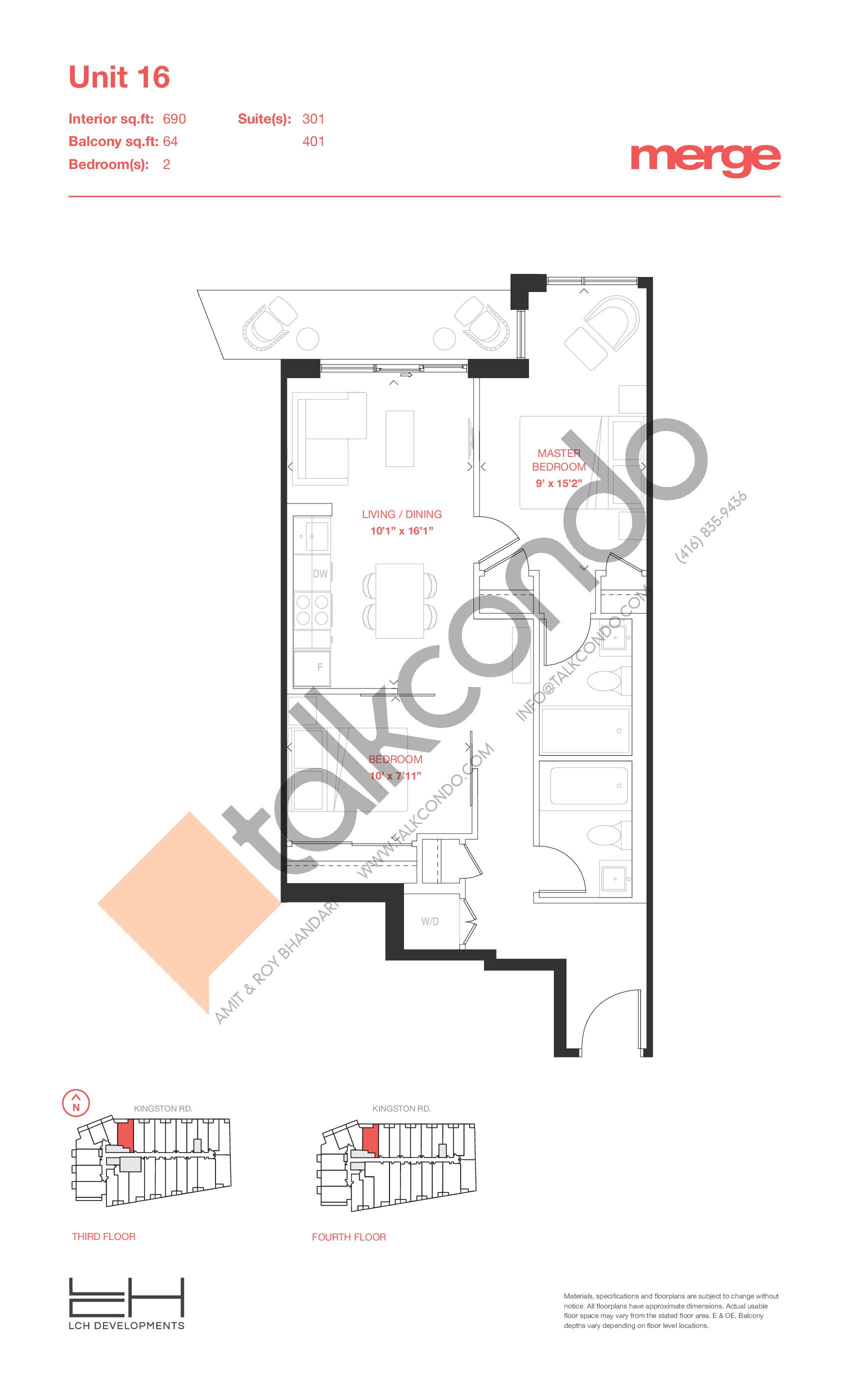 Unit 16 - Tower Floor Plan at Merge Condos - 690 sq.ft