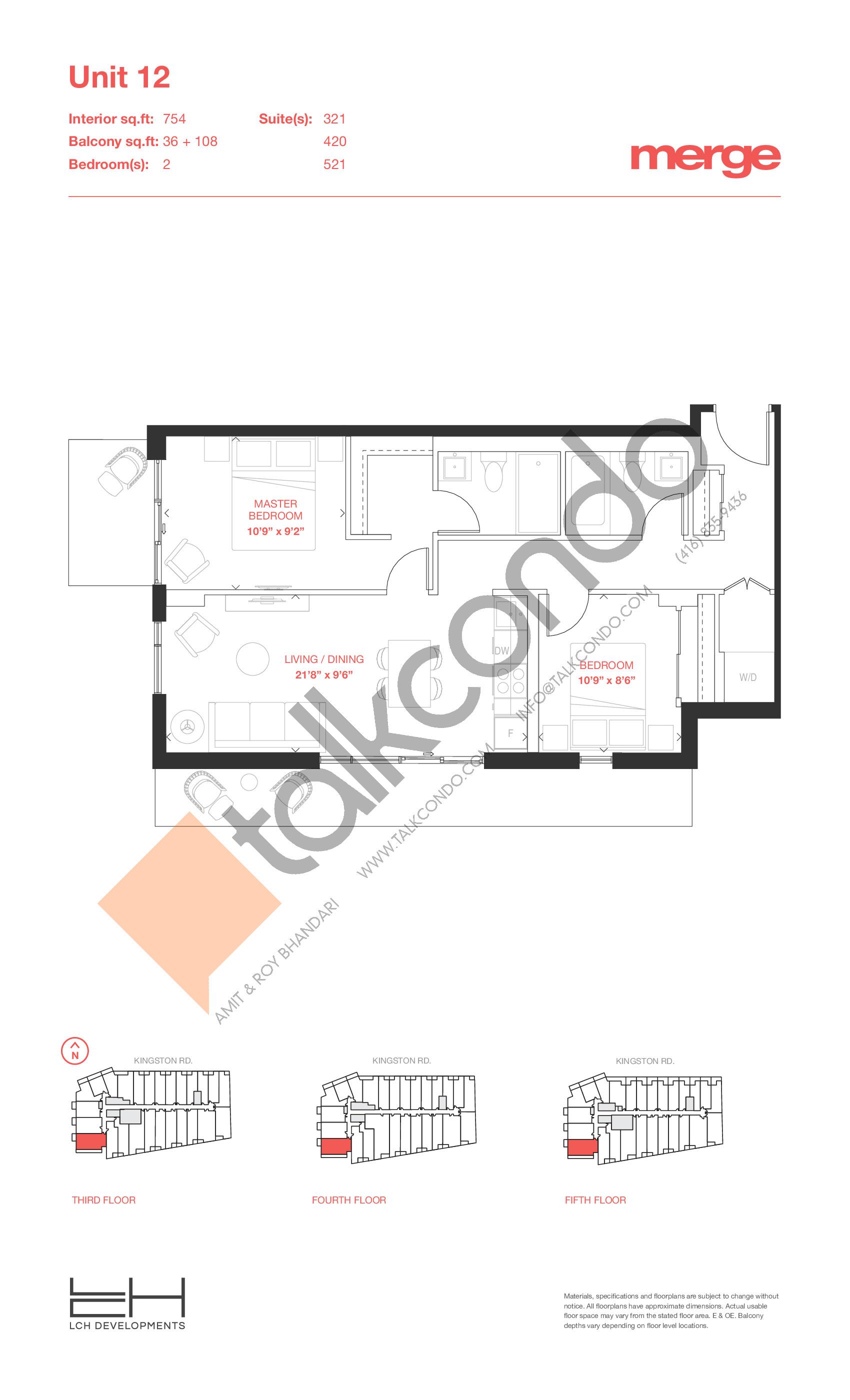 Unit 12 - Tower Floor Plan at Merge Condos - 754 sq.ft