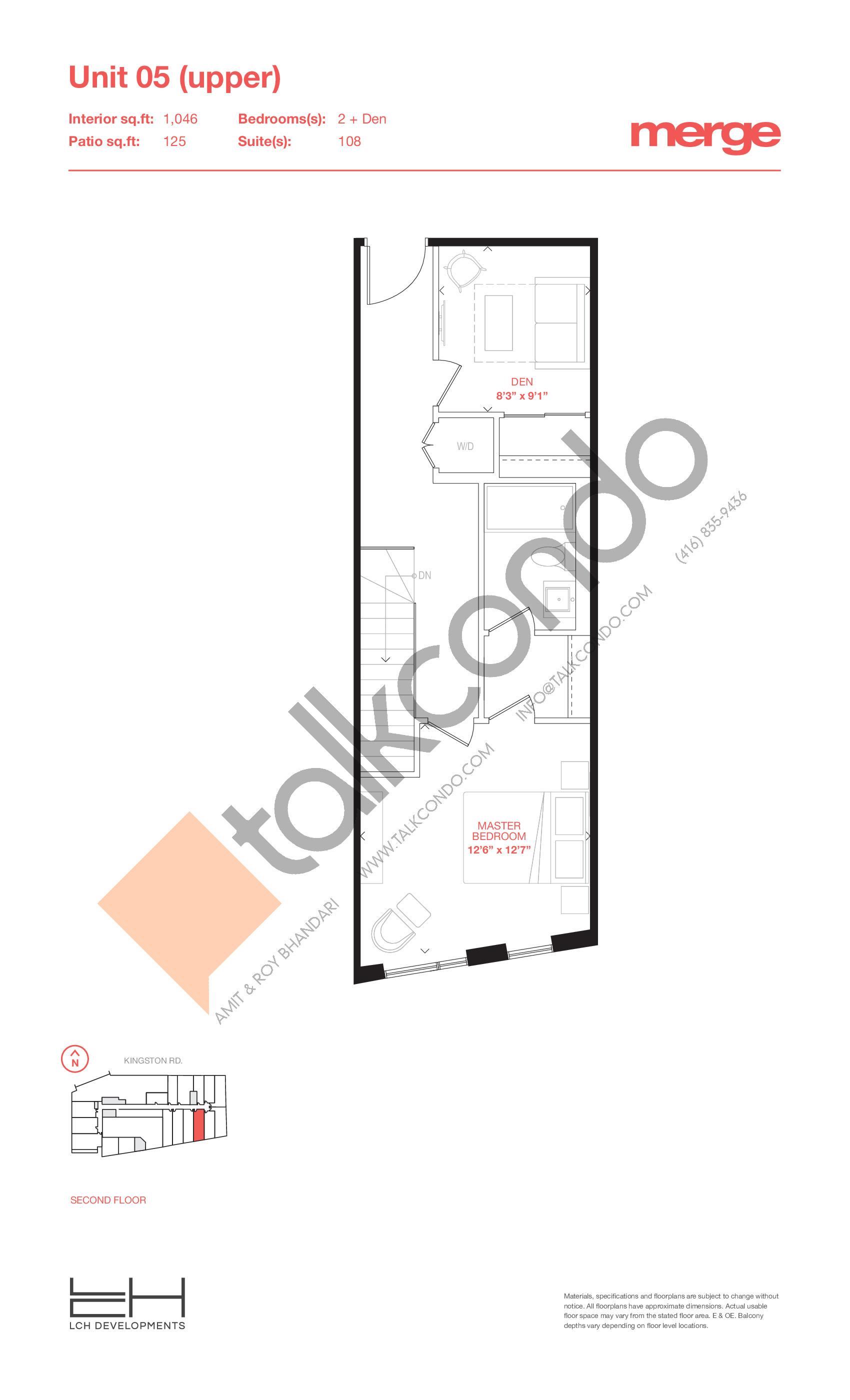 Unit 05 (Upper) - Townhouse Floor Plan at Merge Condos - 1046 sq.ft