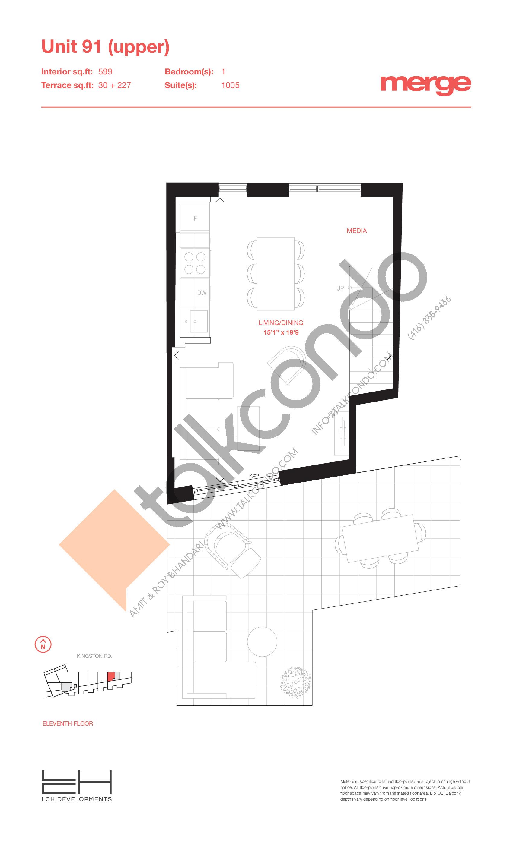 Unit 91 (Upper) - 2 Storey Floor Plan at Merge Condos - 599 sq.ft