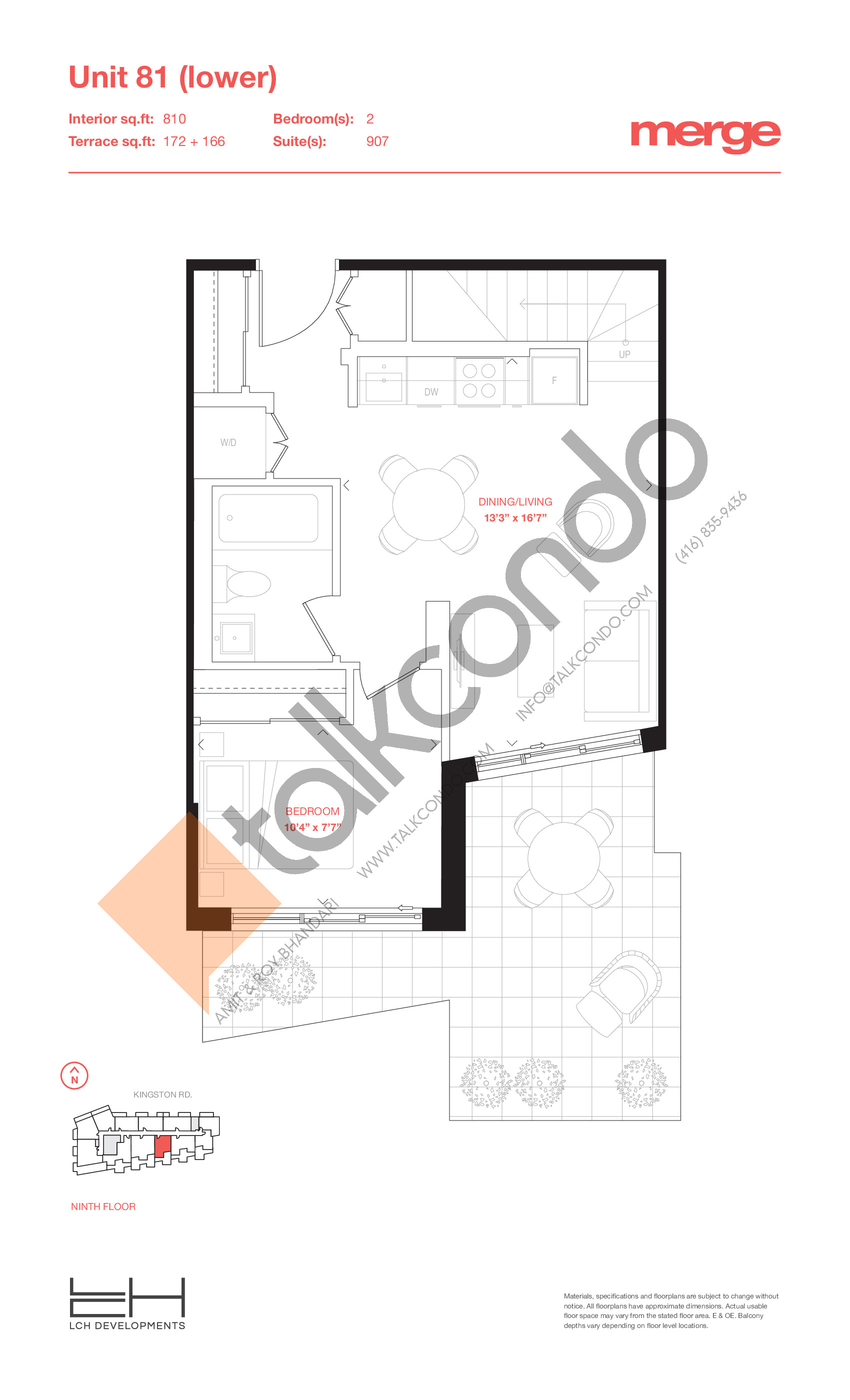 Unit 81 (Lower) - 2 Storey Floor Plan at Merge Condos - 810 sq.ft