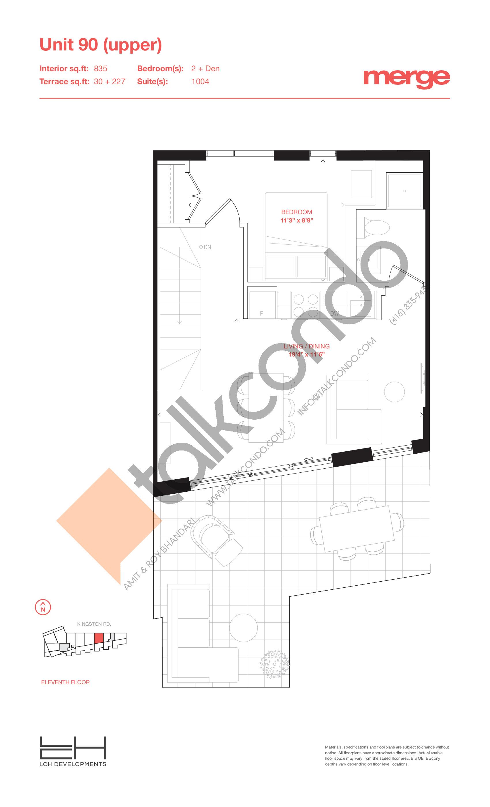 Unit 90 (Upper) - 2 Storey Floor Plan at Merge Condos - 835 sq.ft