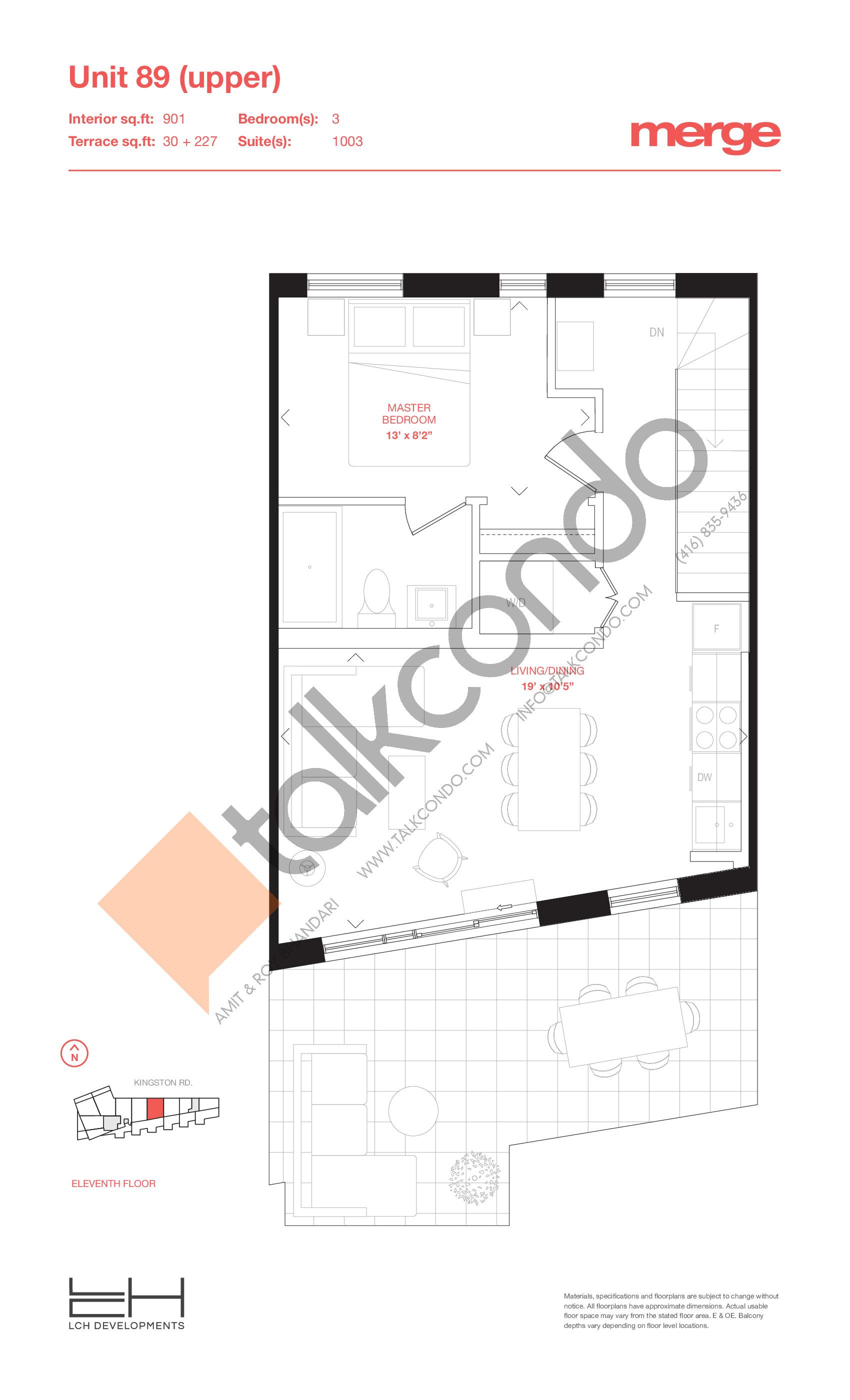 Unit 89 (Upper) - 2 Storey Floor Plan at Merge Condos - 901 sq.ft