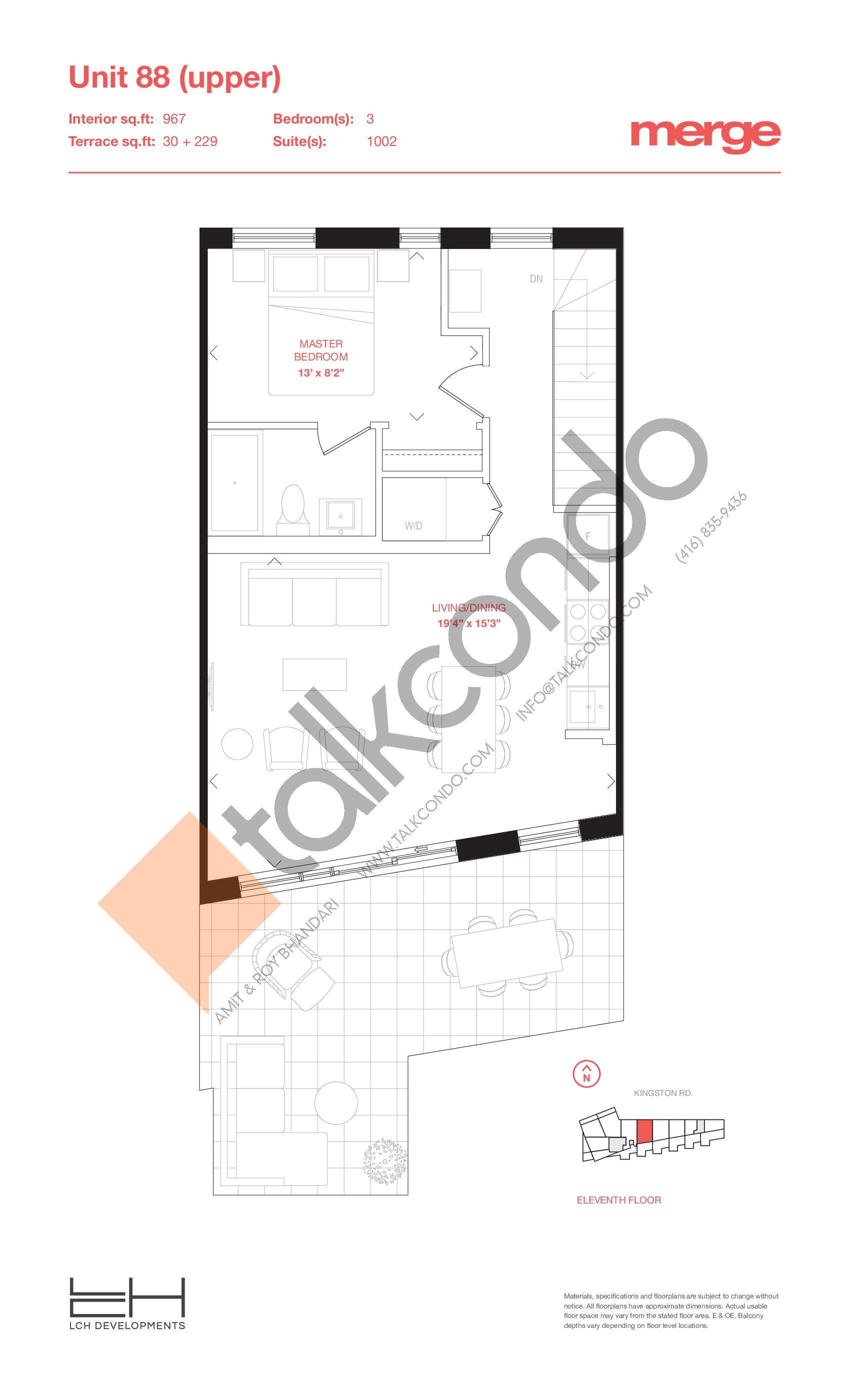 Unit 88 (Upper) - 2 Storey Floor Plan at Merge Condos - 967 sq.ft