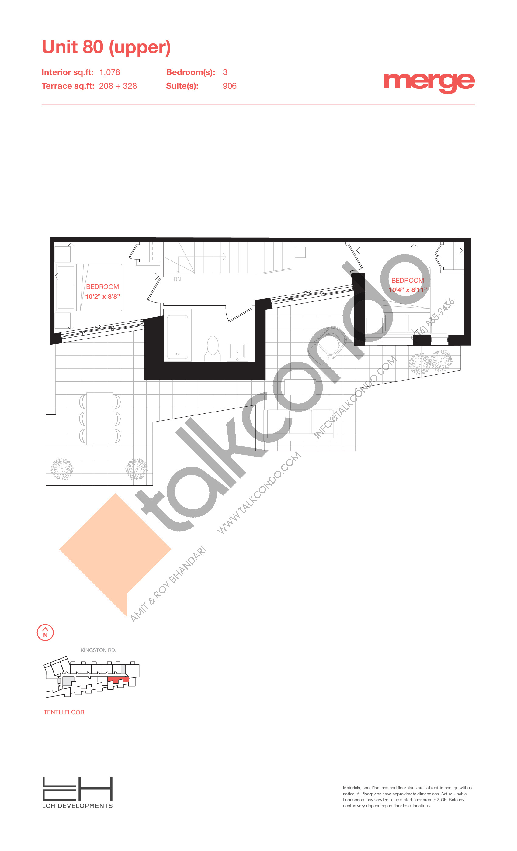 Unit 80 (Upper) - 2 Storey Floor Plan at Merge Condos - 1078 sq.ft