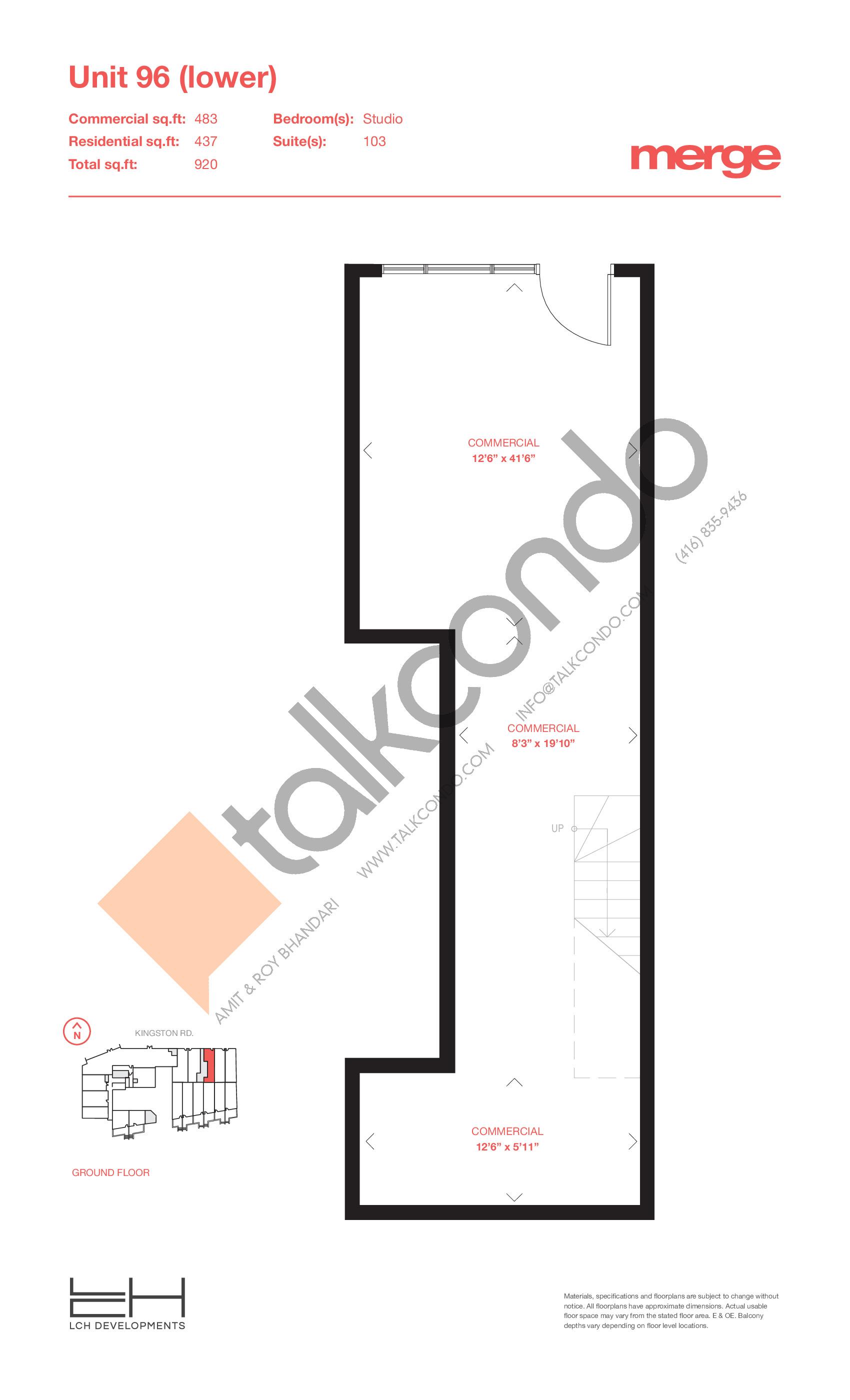 Unit 96 (Lower) - Livework Floor Plan at Merge Condos - 920 sq.ft