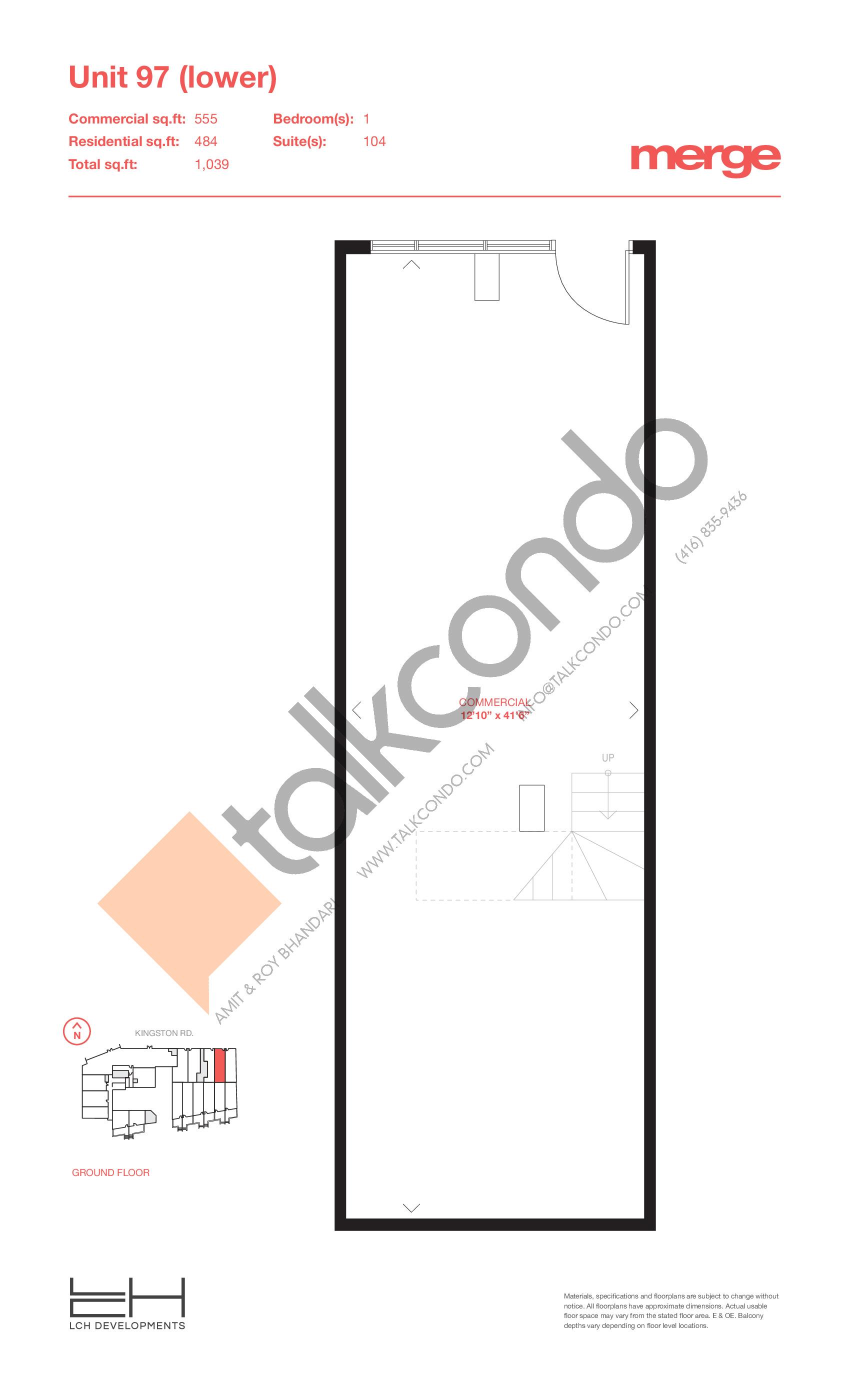 Unit 97 (Lower) - Livework Floor Plan at Merge Condos - 1039 sq.ft