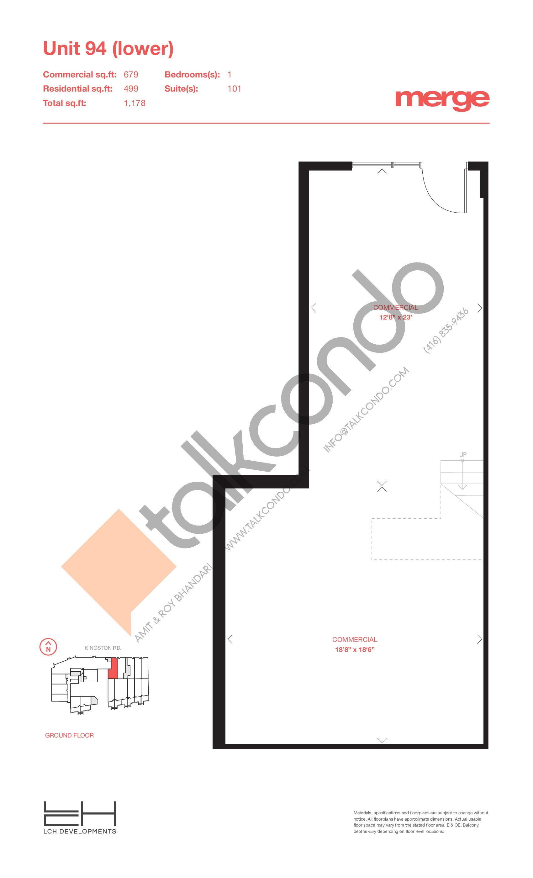 Unit 94 (Lower) - Livework Floor Plan at Merge Condos - 1178 sq.ft