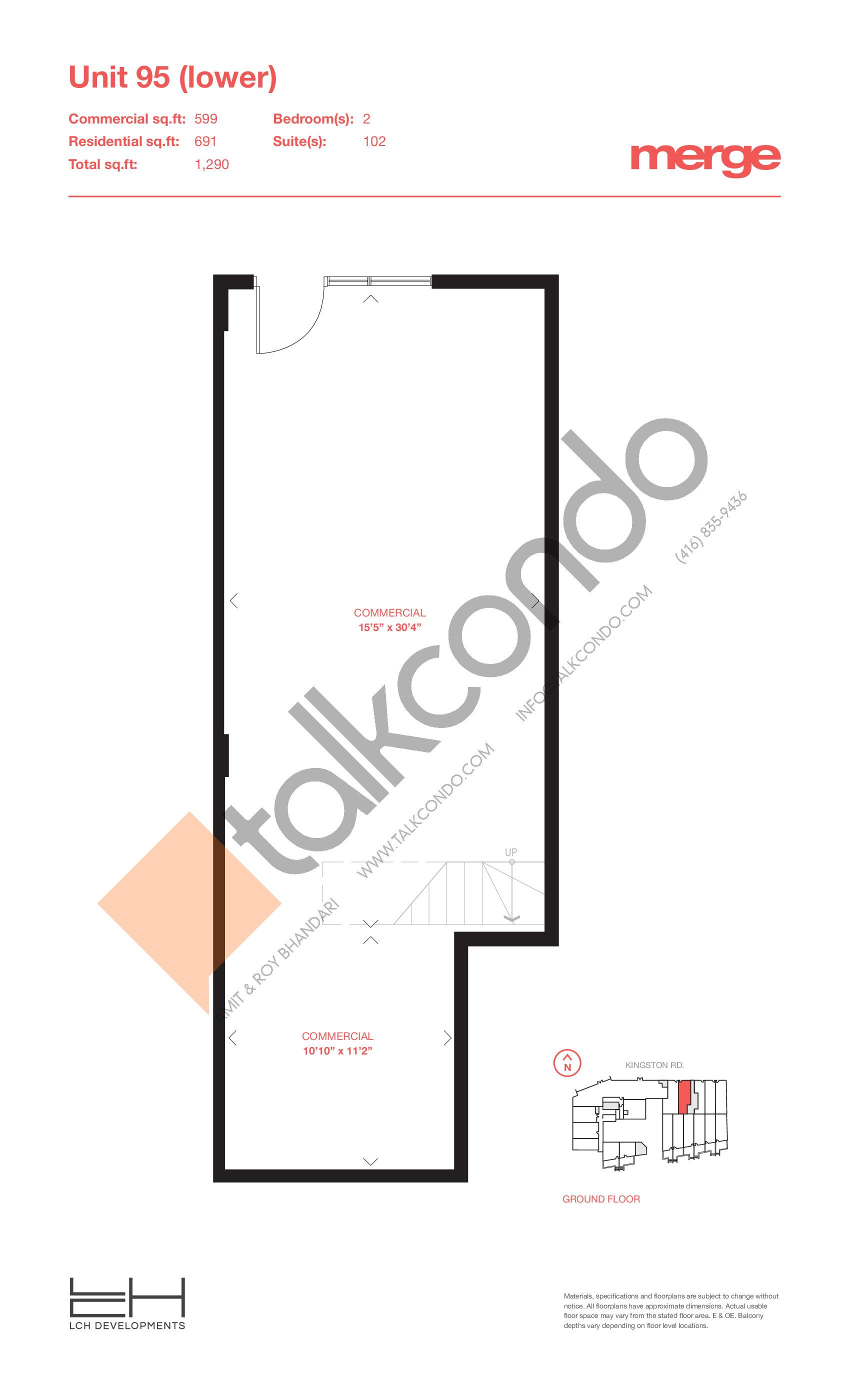 Unit 95 (Lower) - Livework Floor Plan at Merge Condos - 1290 sq.ft