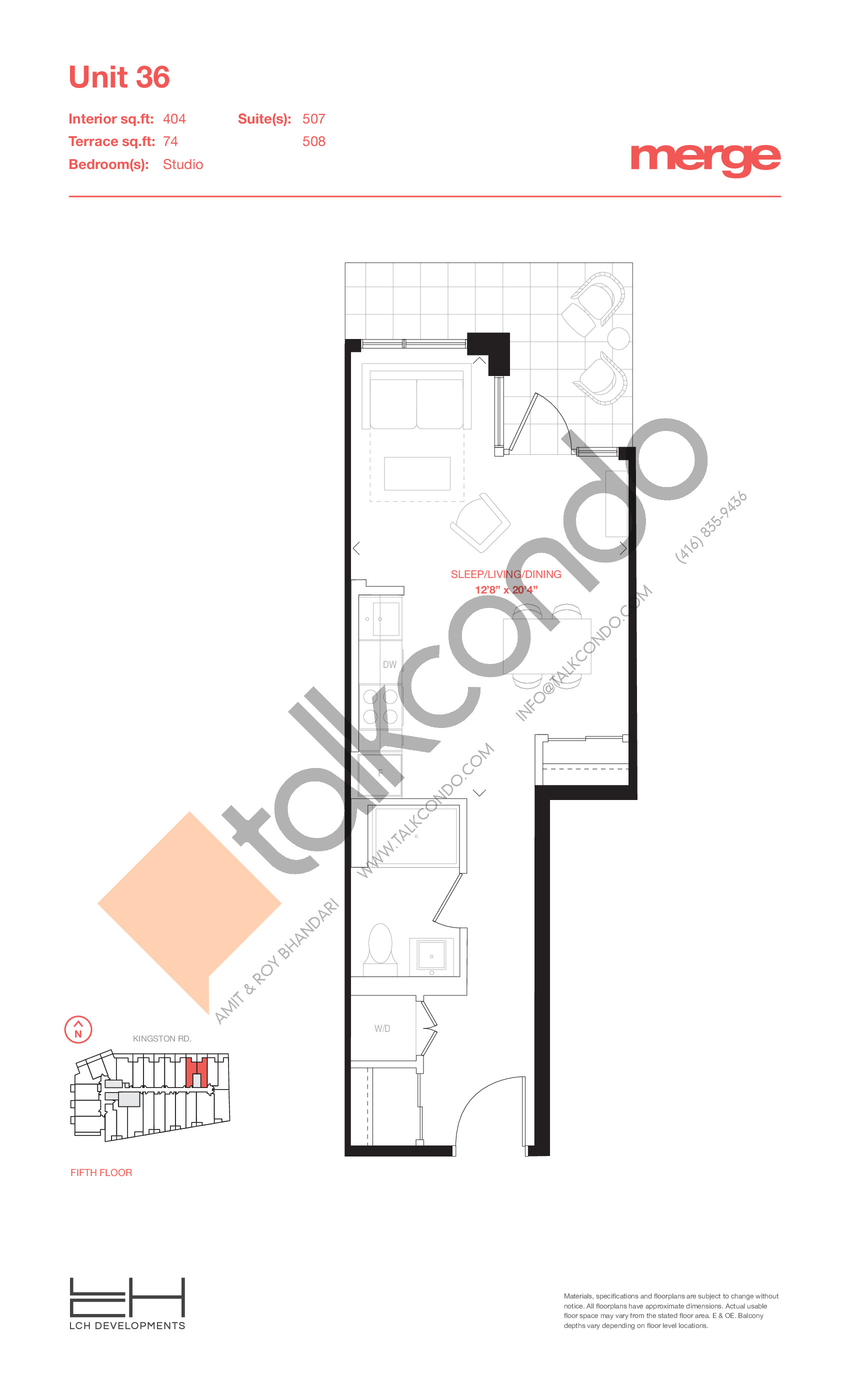Unit 36 - Terraces Floor Plan at Merge Condos - 404 sq.ft