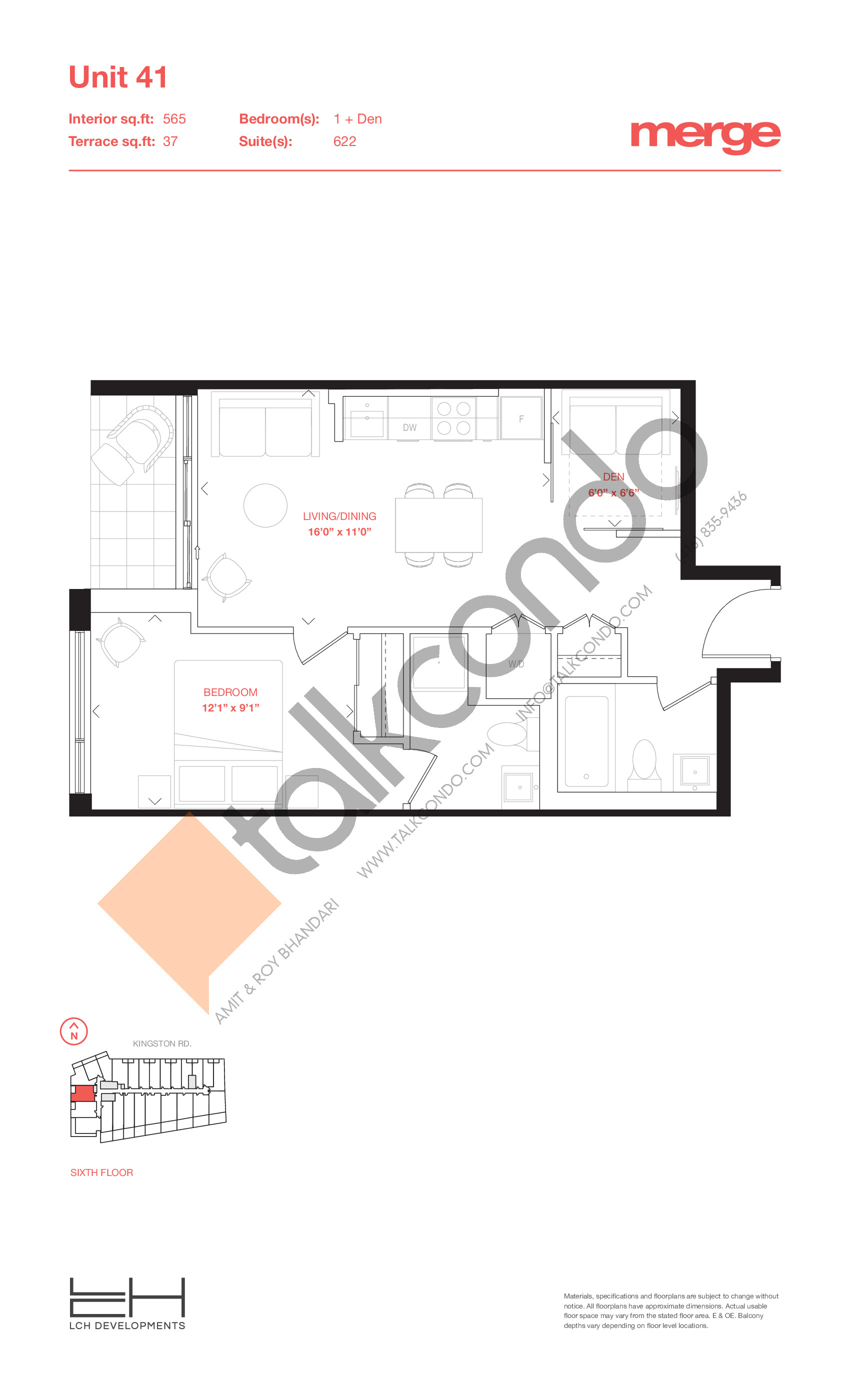 Unit 41 - Terraces Floor Plan at Merge Condos - 565 sq.ft