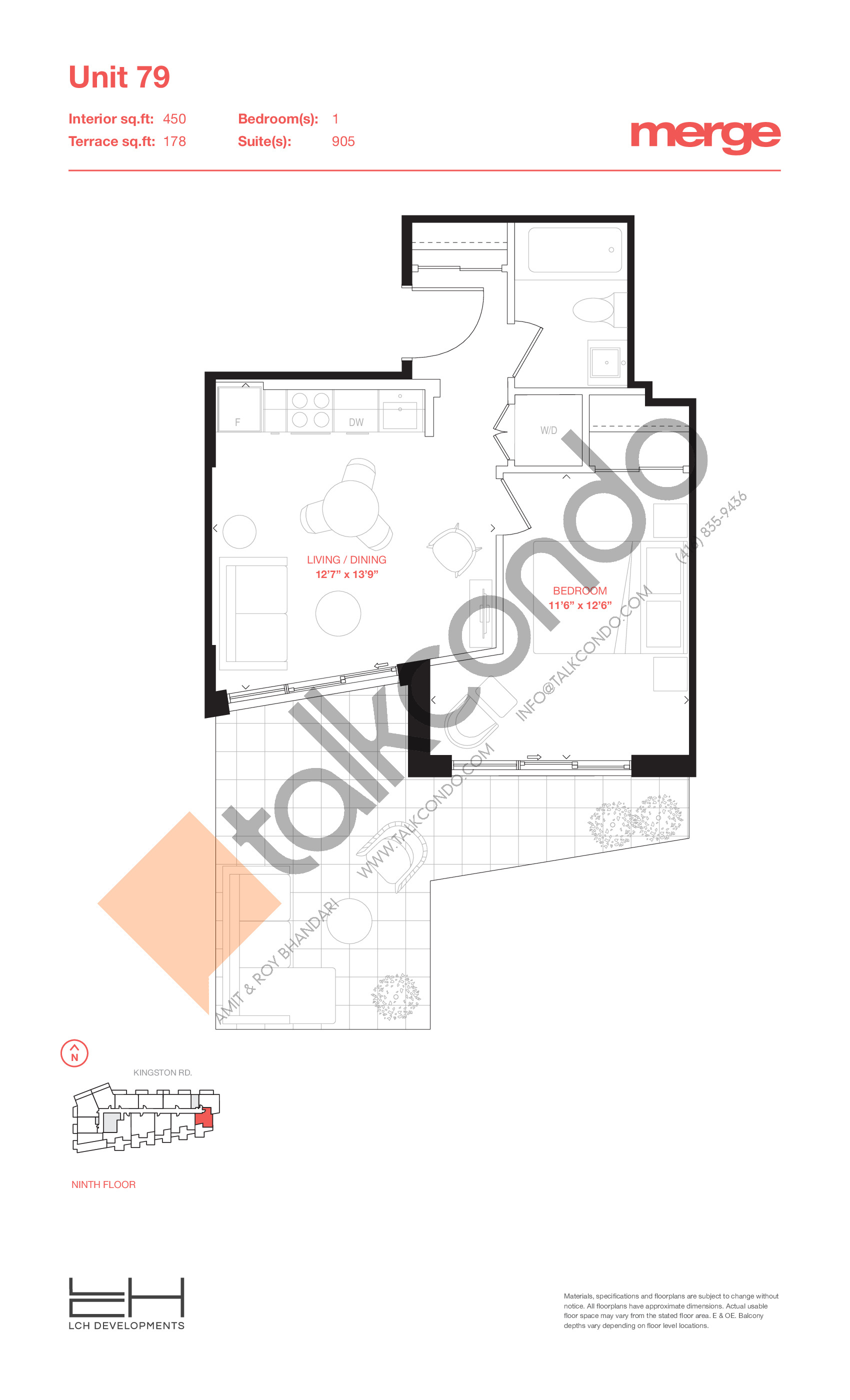 Unit 79 - Terraces Floor Plan at Merge Condos - 450 sq.ft