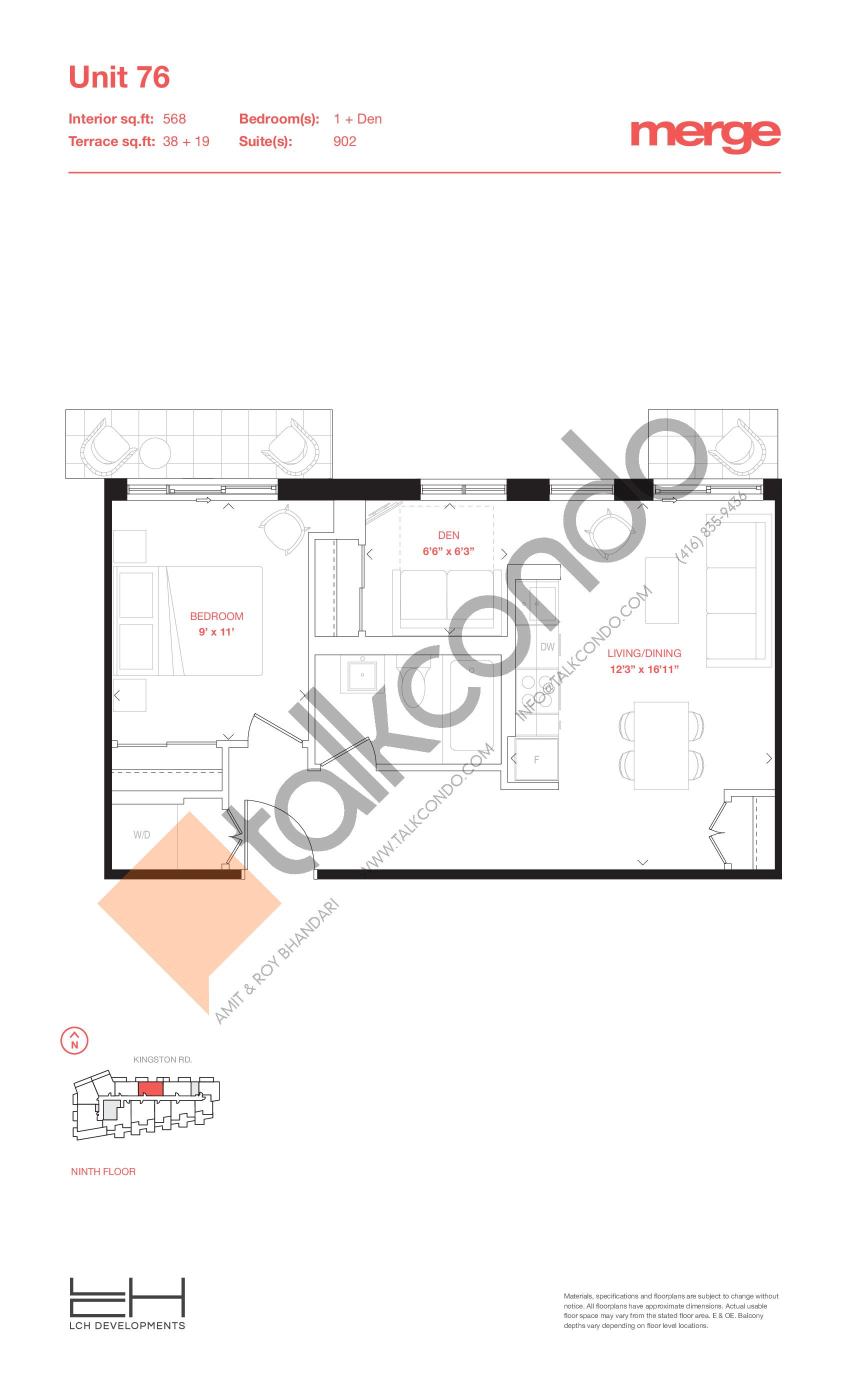 Unit 76 - Terraces Floor Plan at Merge Condos - 568 sq.ft