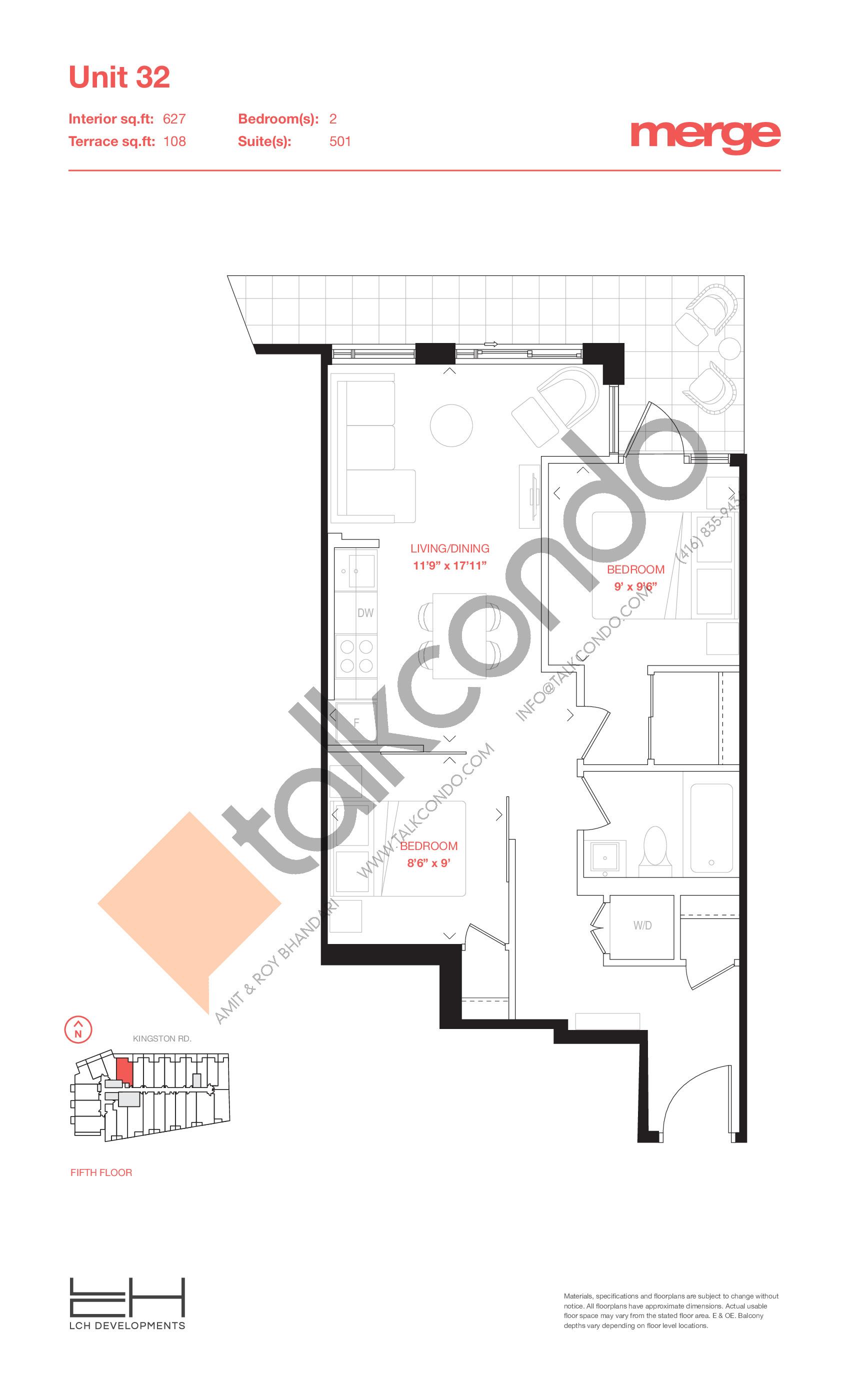 Unit 32 - Terraces Floor Plan at Merge Condos - 627 sq.ft