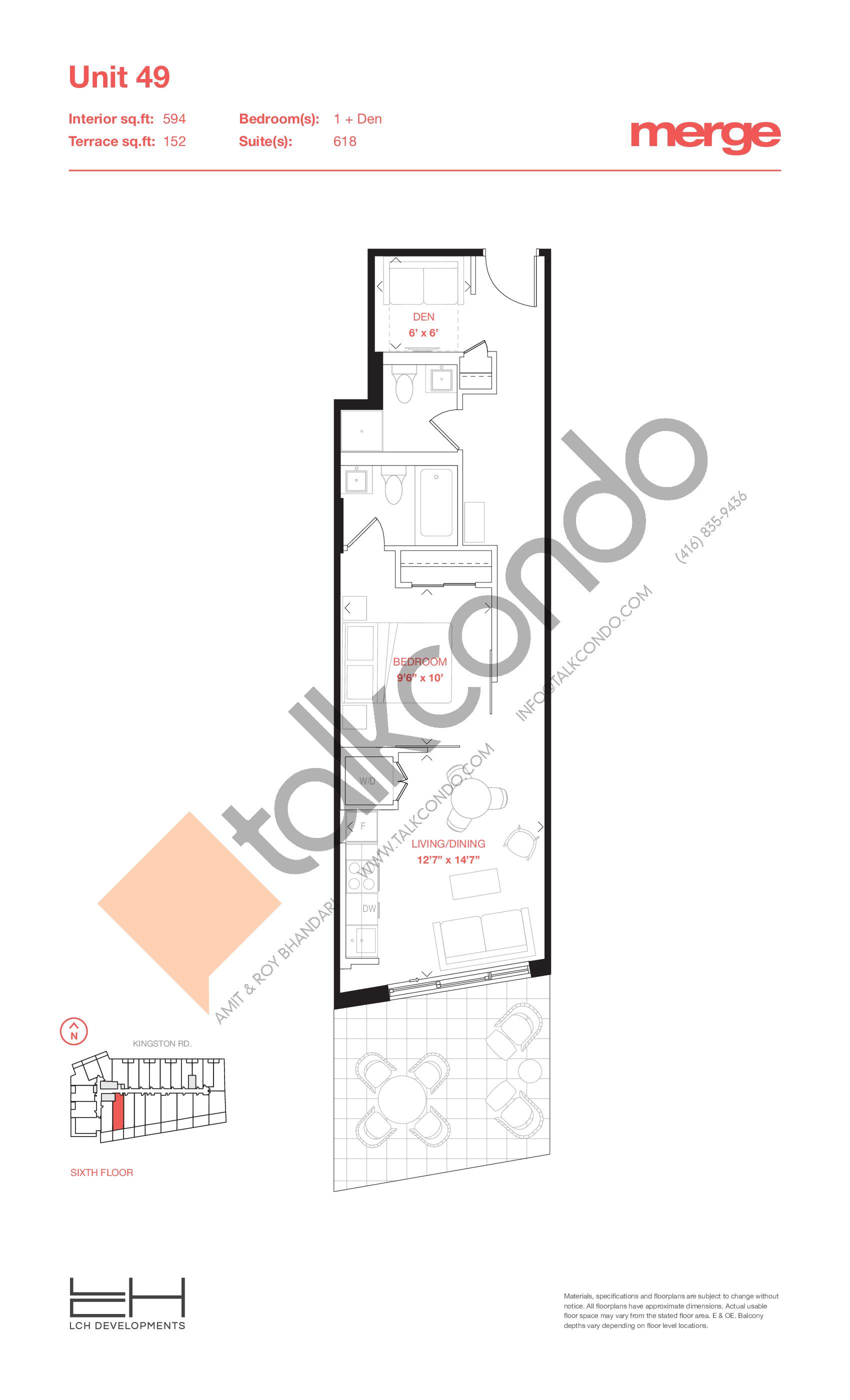 Unit 49 - Tower Floor Plan at Merge Condos - 594 sq.ft