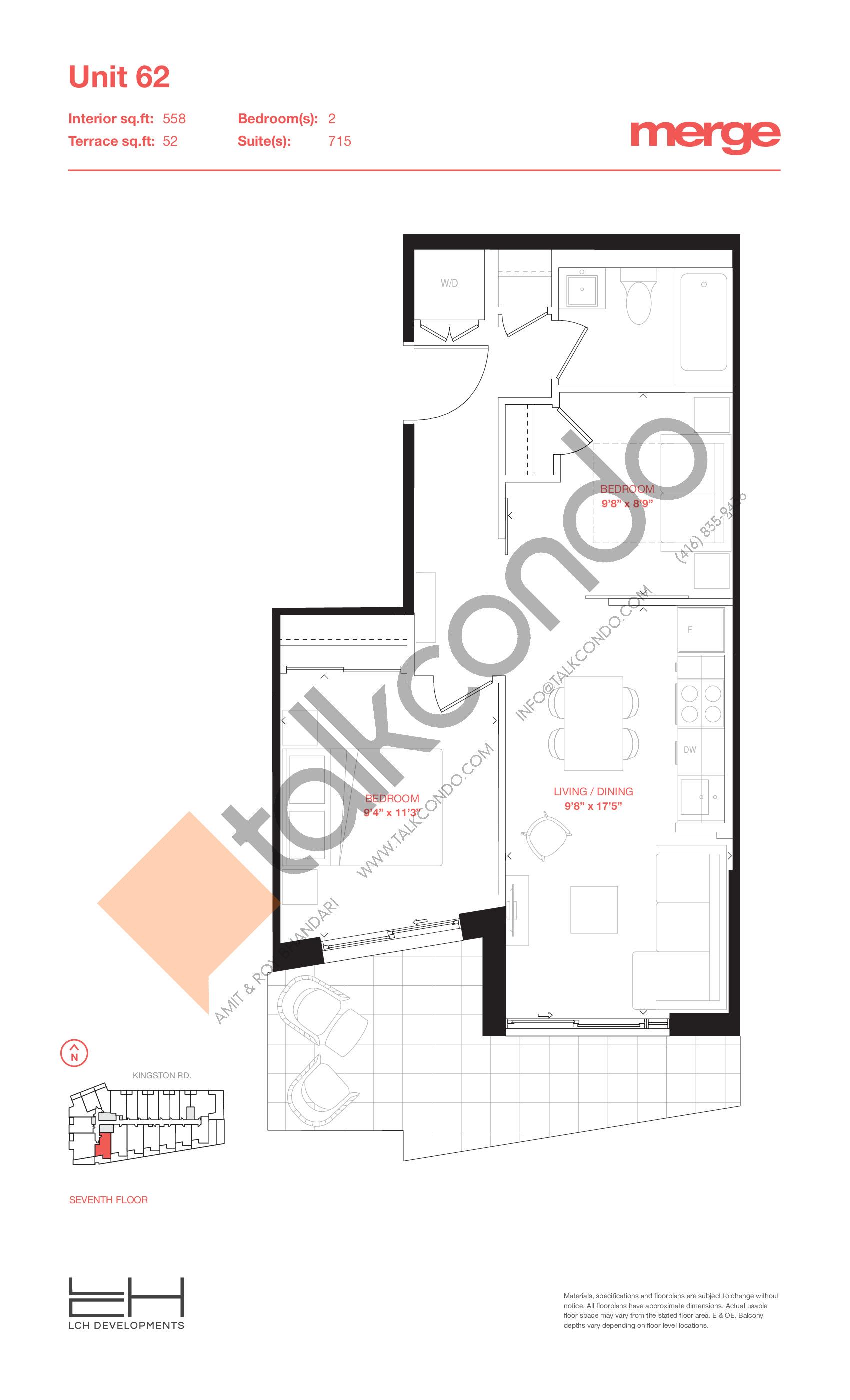 Unit 62 - Terraces Floor Plan at Merge Condos - 558 sq.ft