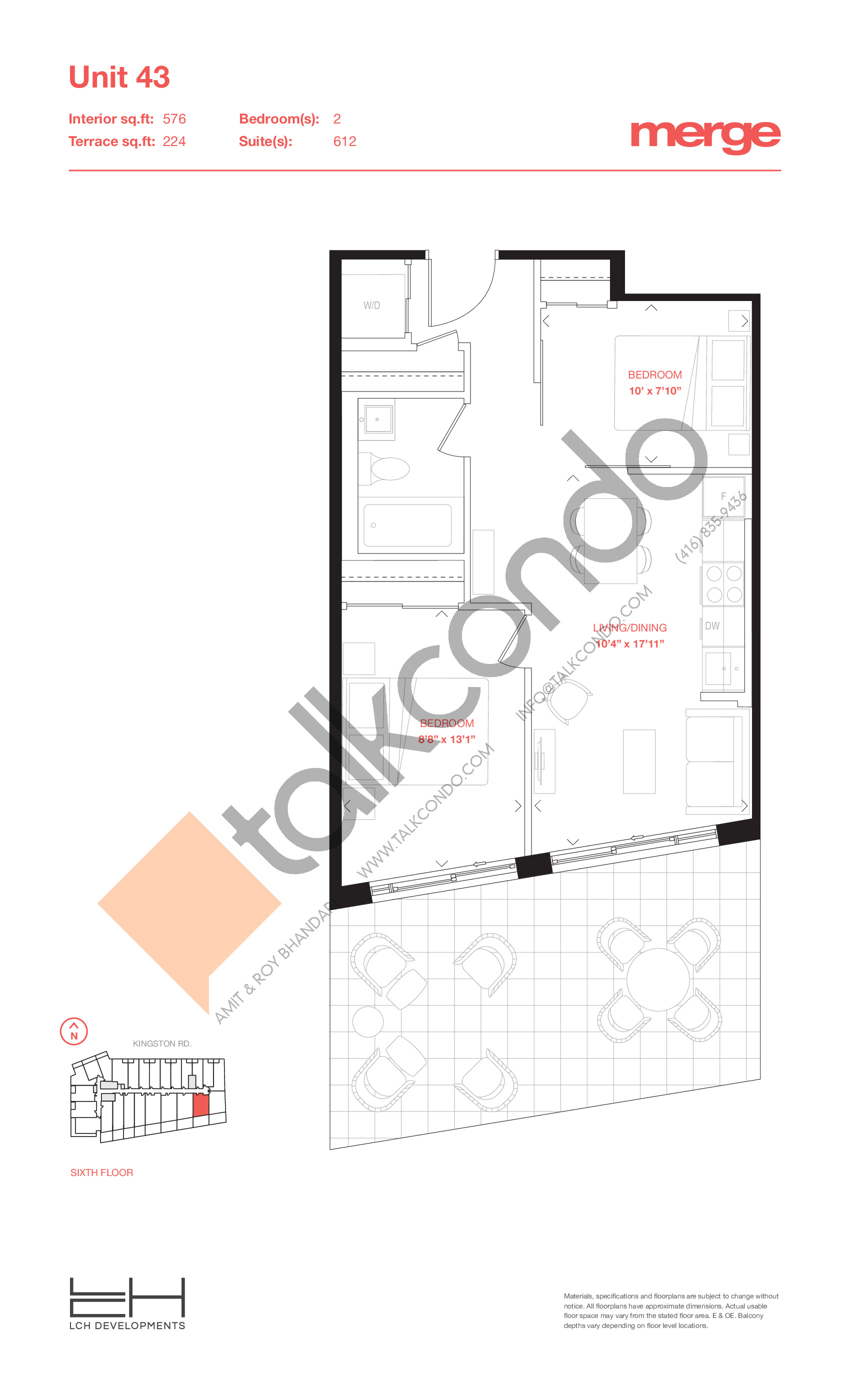 Unit 43 - Terraces Floor Plan at Merge Condos - 576 sq.ft