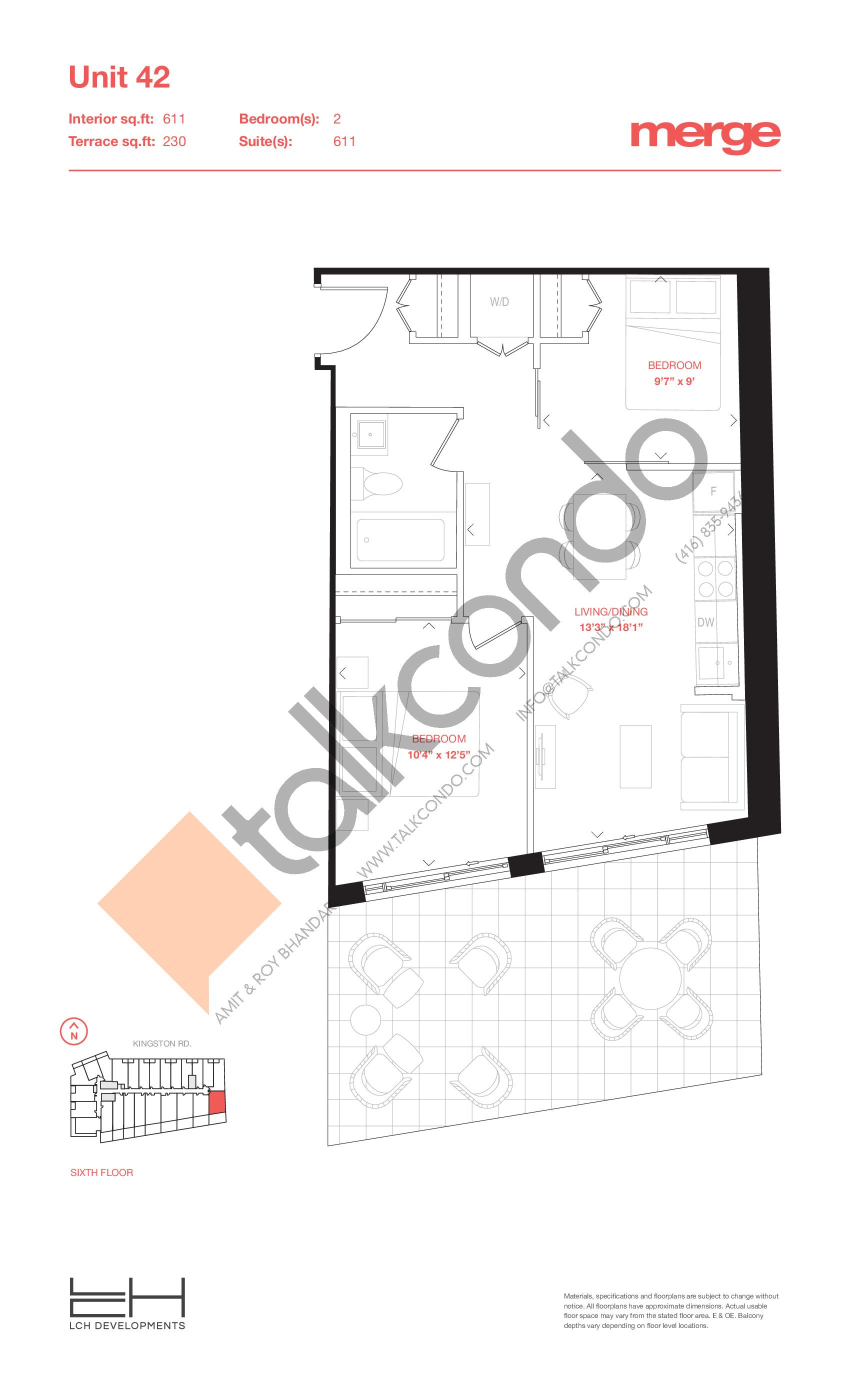 Unit 42 - Terraces Floor Plan at Merge Condos - 611 sq.ft
